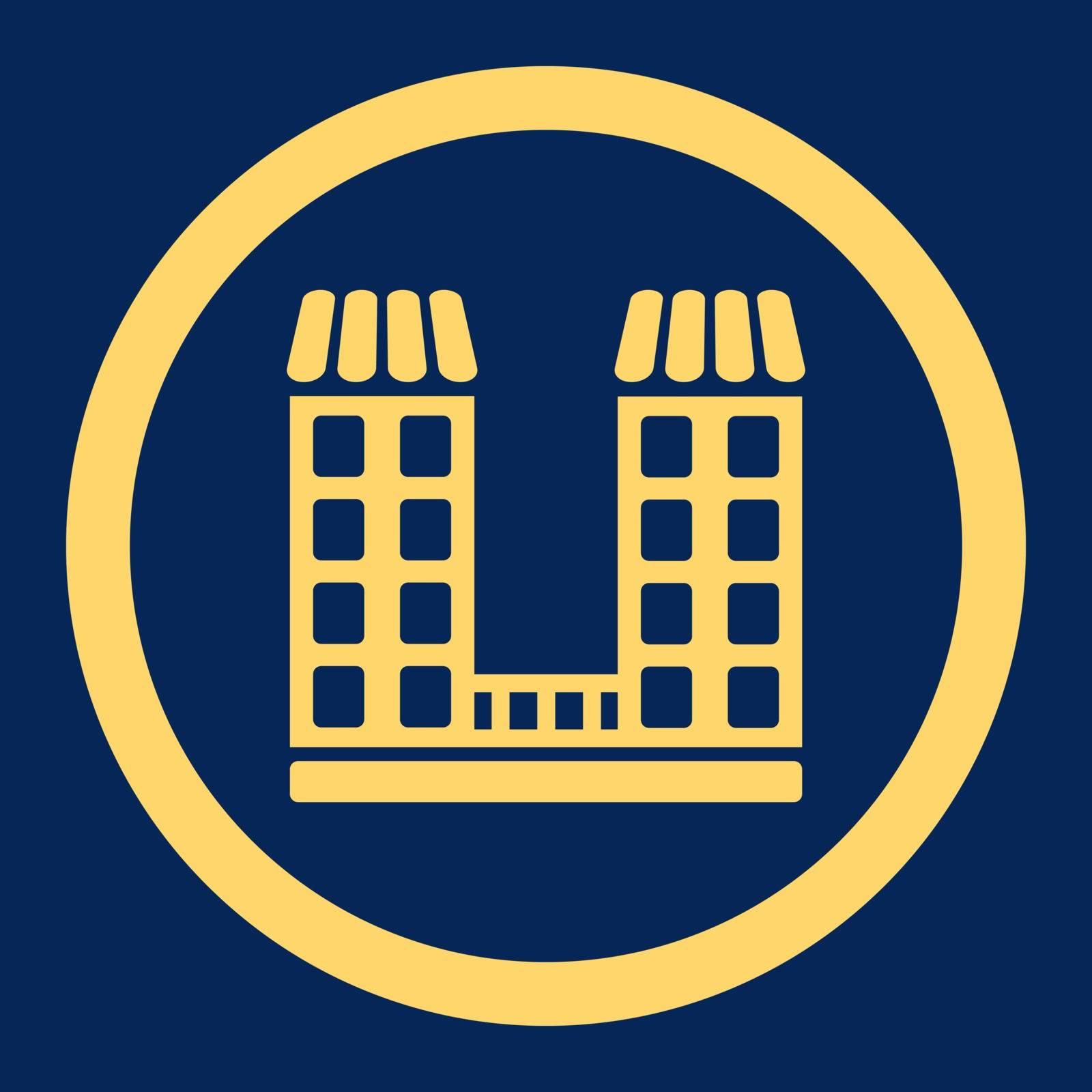 Company vector icon. This flat rounded symbol uses yellow color and isolated on a blue background.