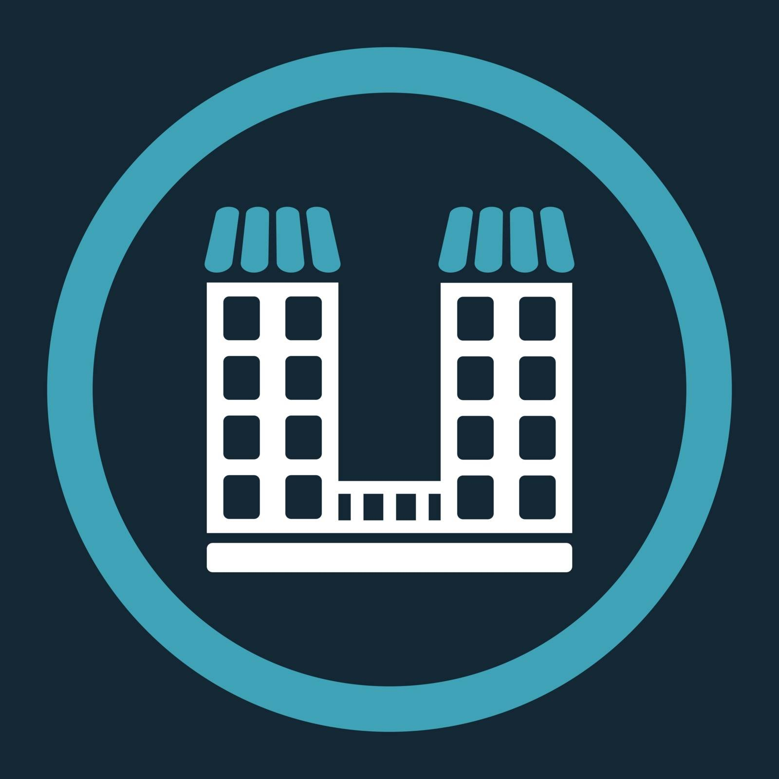 Company vector icon. This flat rounded symbol uses blue and white colors and isolated on a dark blue background.