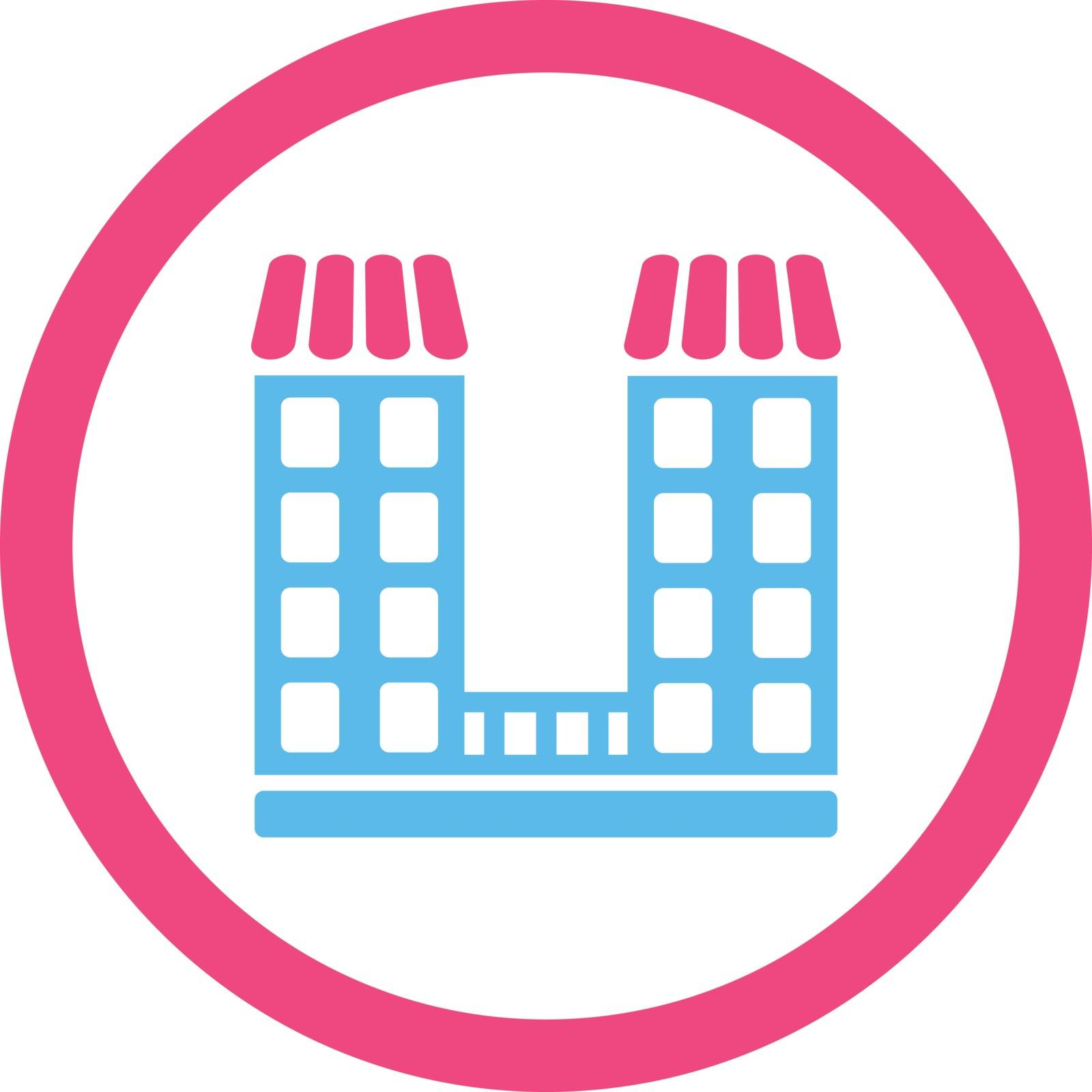 Company vector icon. This flat rounded symbol uses pink and blue colors and isolated on a white background.