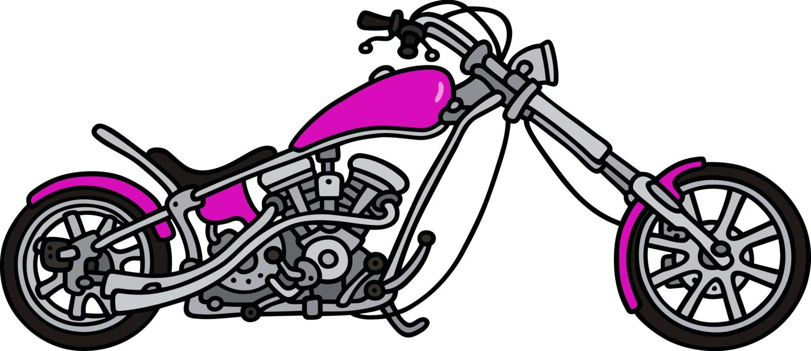Hand drawing of a violet chopper - not a real model