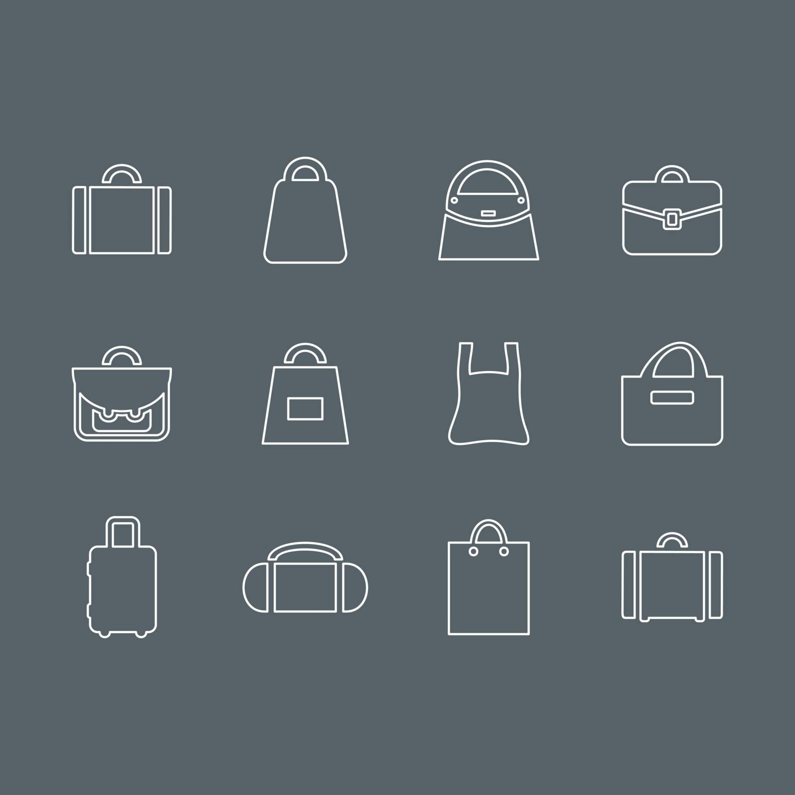 Set of outline icons bags. Vector illustration