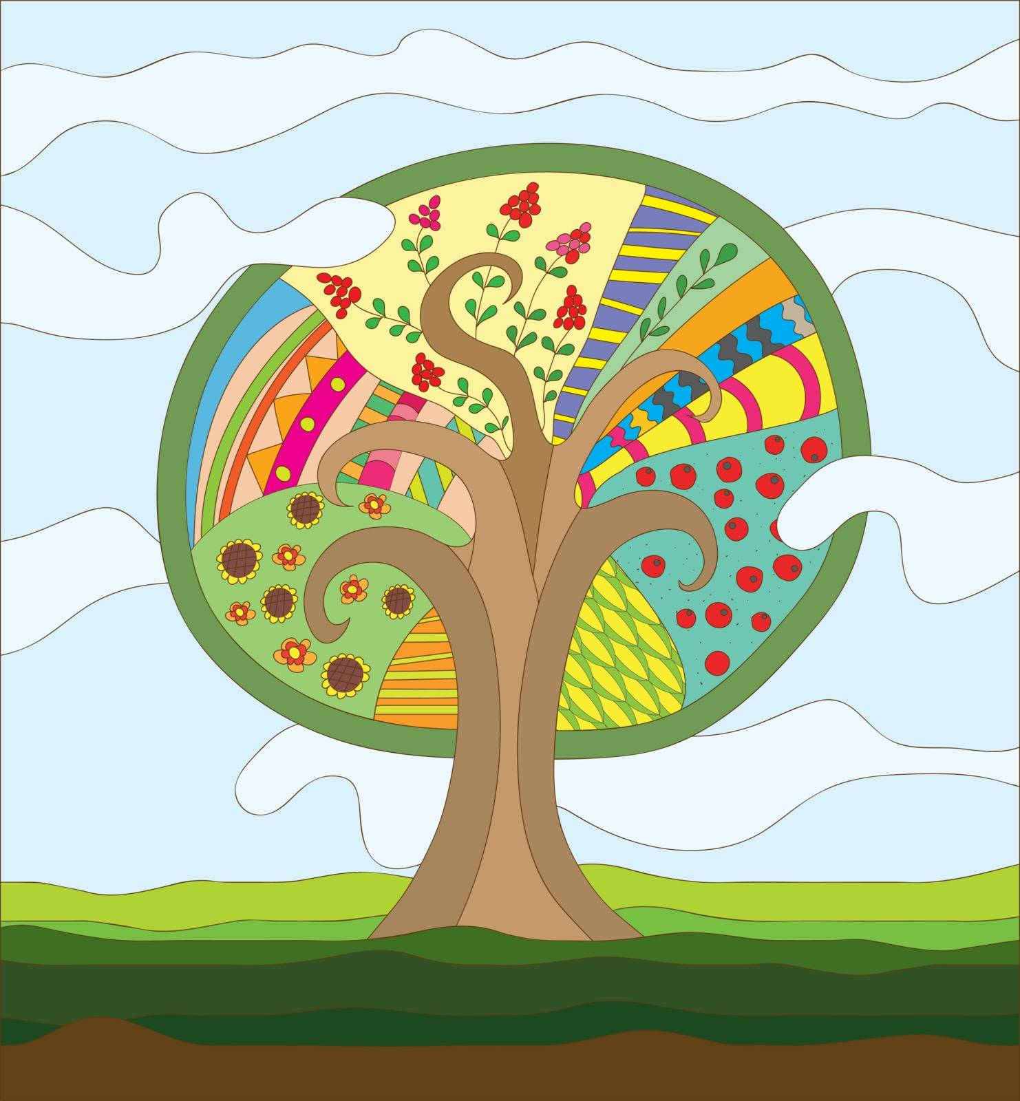 Fairy Tree vector illustration with different leaves, fruits and berries