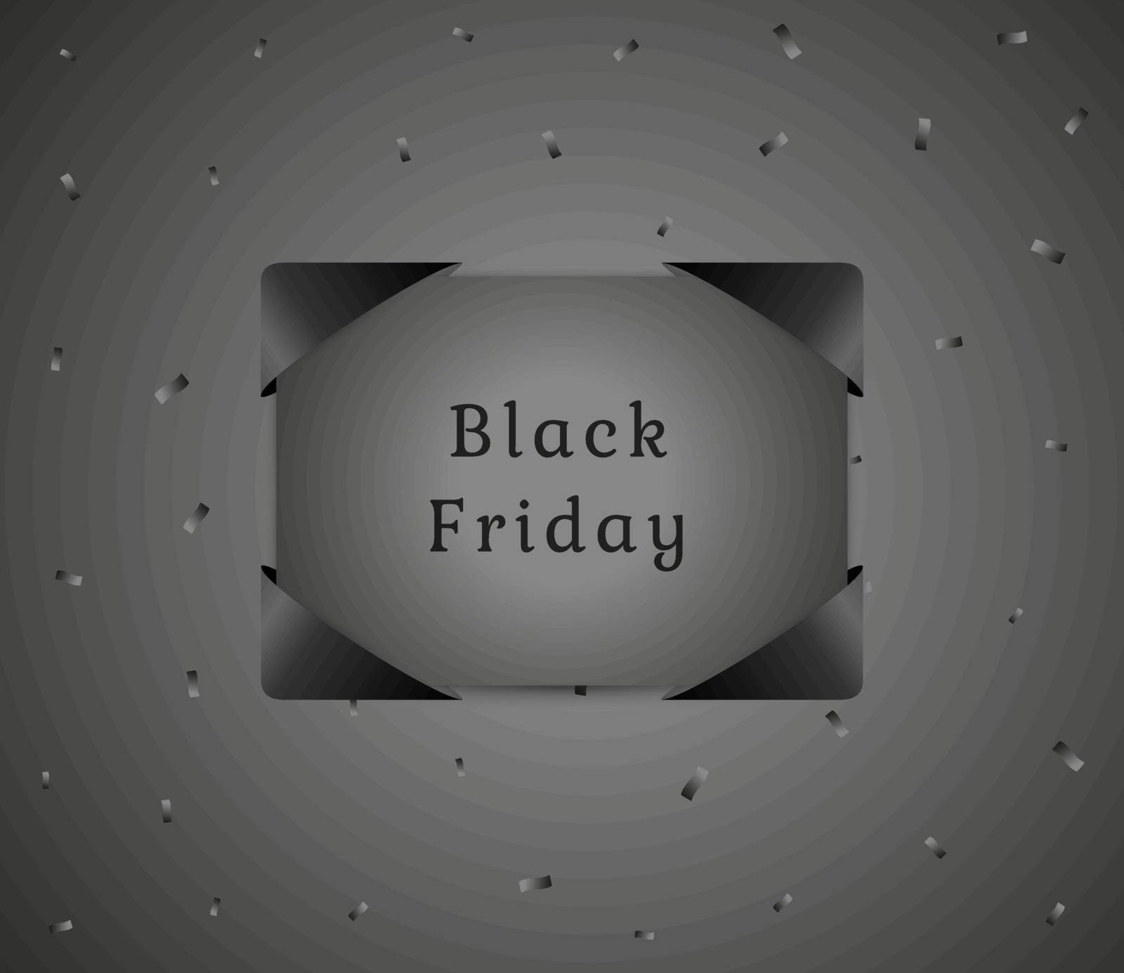black friday gift with black confetti on dark gray gradient background