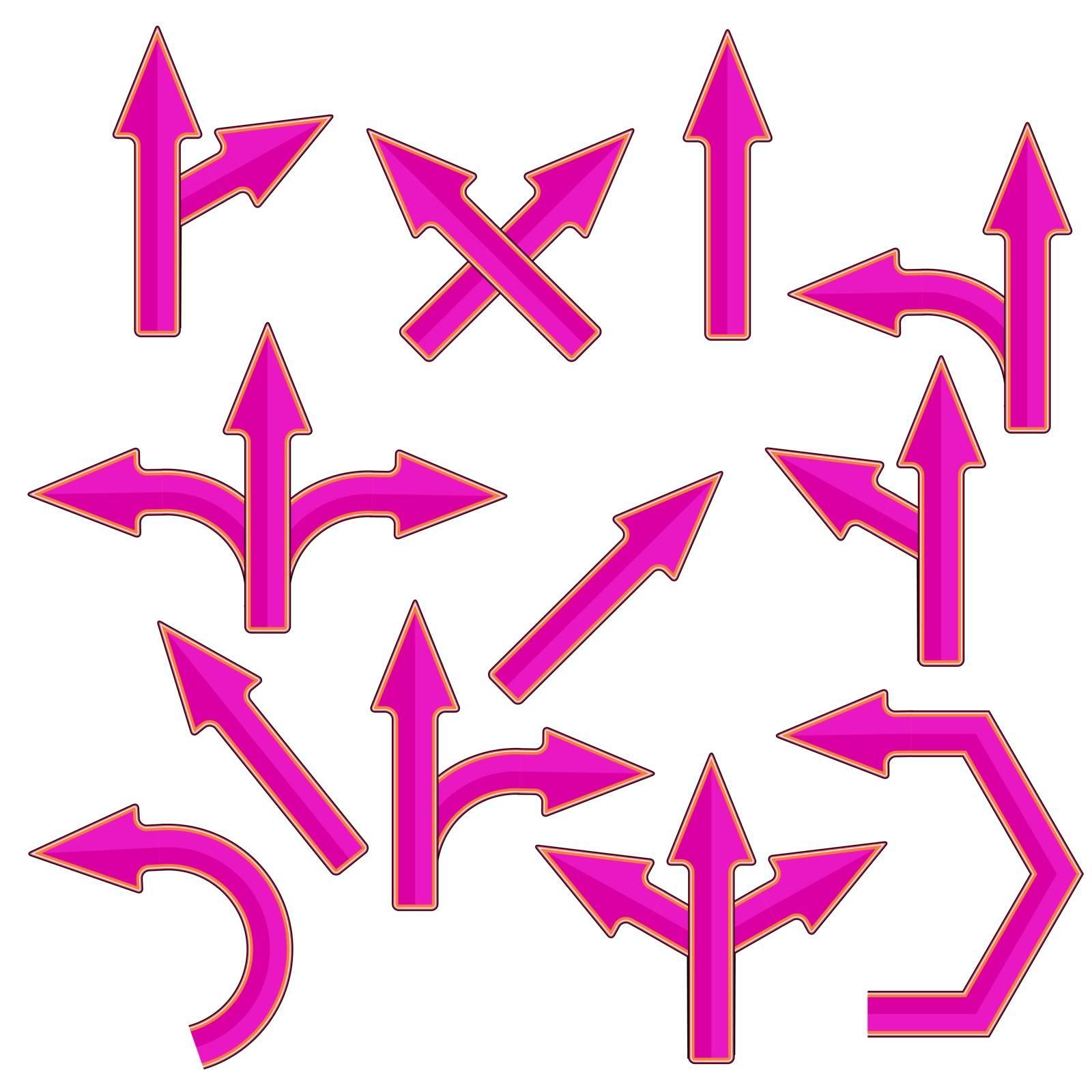 Set of Pink Arrows Isolatedon White Background