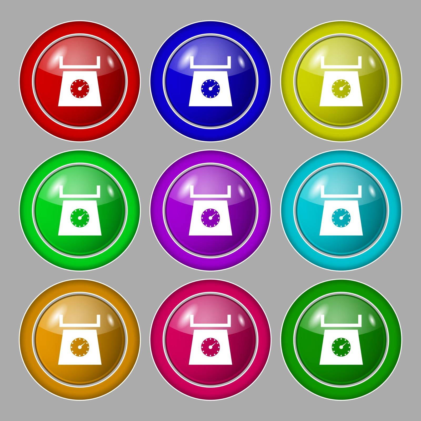 kitchen scales icon sign. Symbol on nine round colourful buttons. Vector illustration