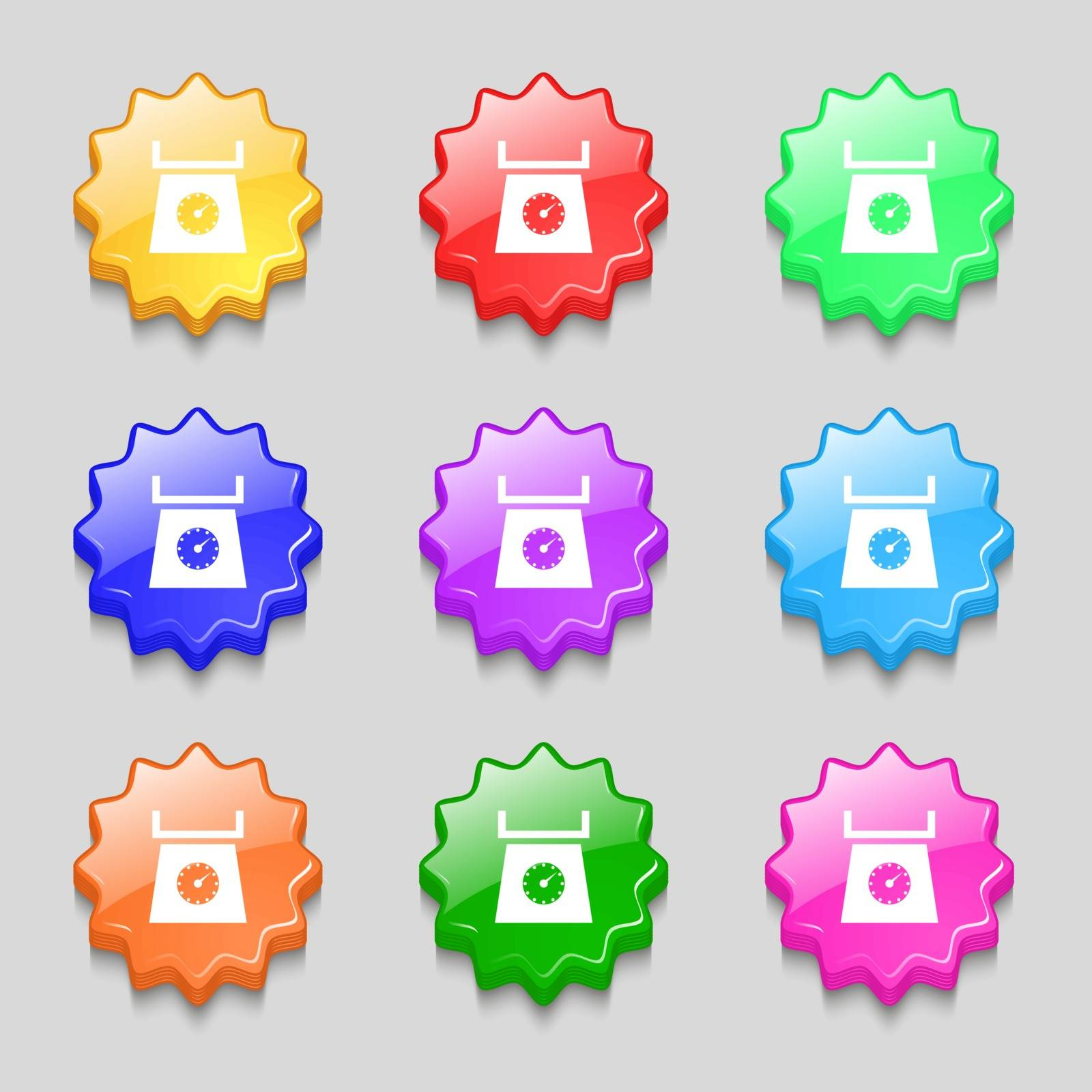 kitchen scales icon sign. Symbols on nine wavy colourful buttons. Vector illustration