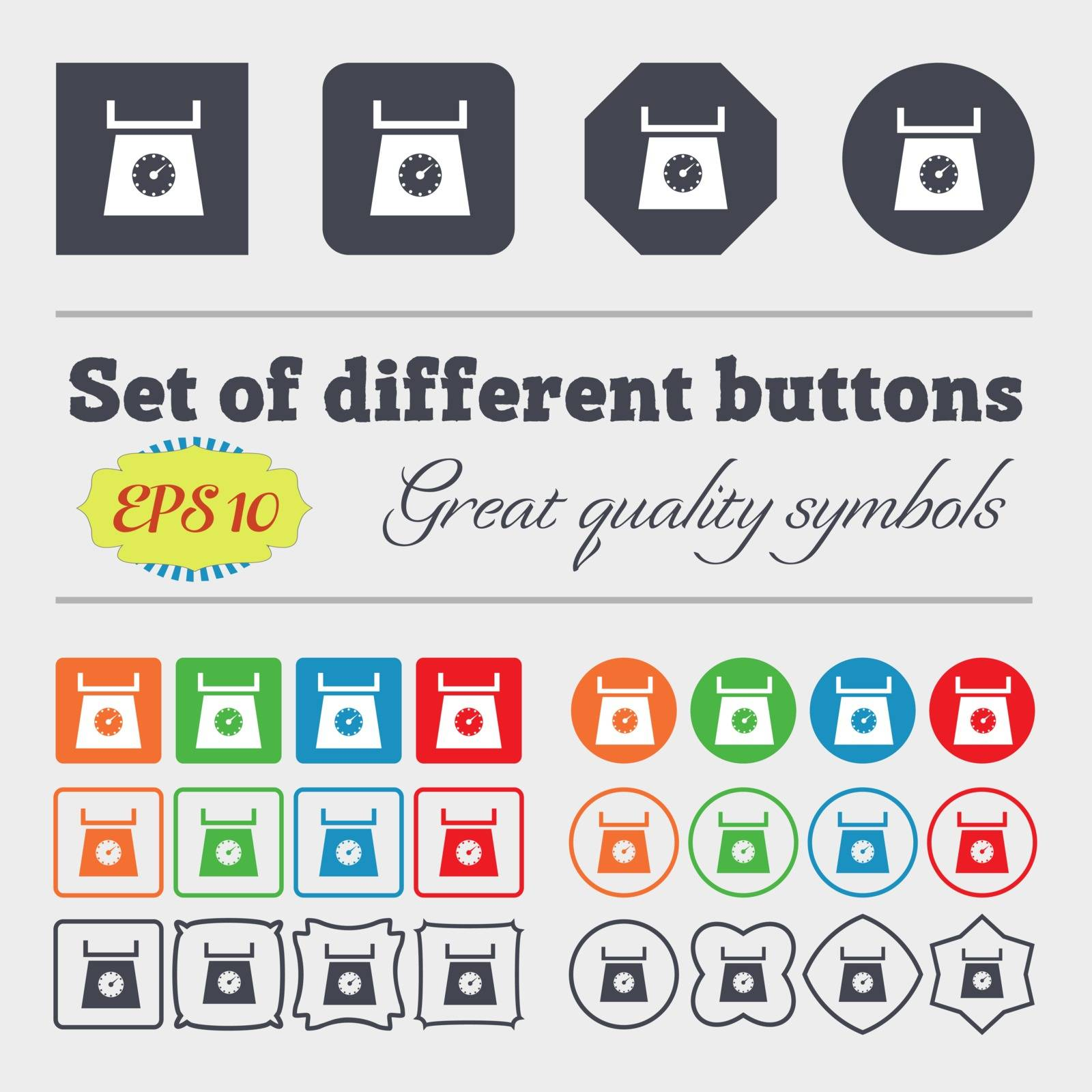 kitchen scales icon sign. Big set of colorful, diverse, high-quality buttons. Vector illustration