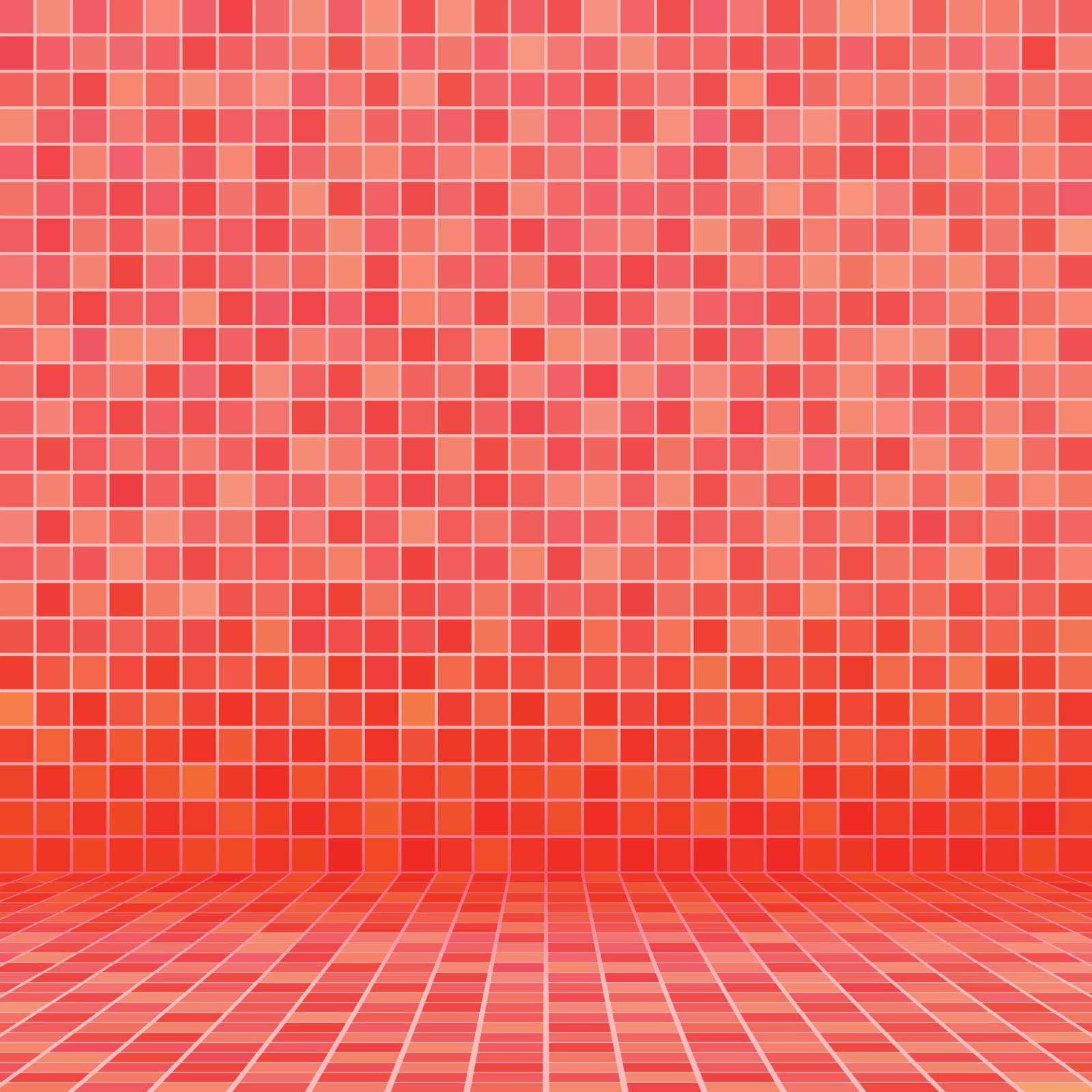 Red ceramic tile mosaic in swimming pool