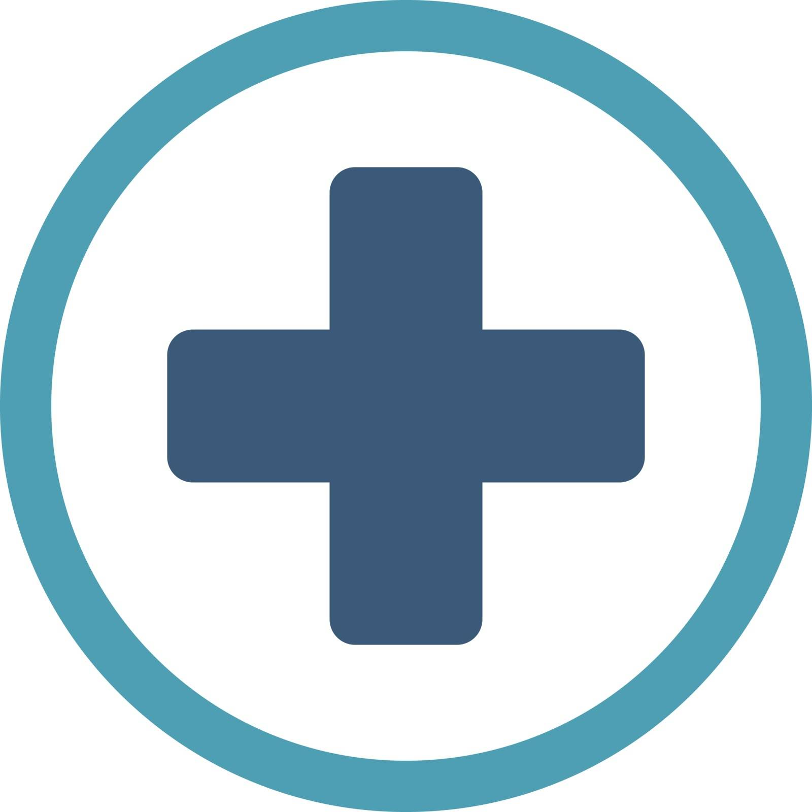 Rounded Plus vector icon. Style is bicolor flat symbol, cyan and blue colors, rounded angles, white background.