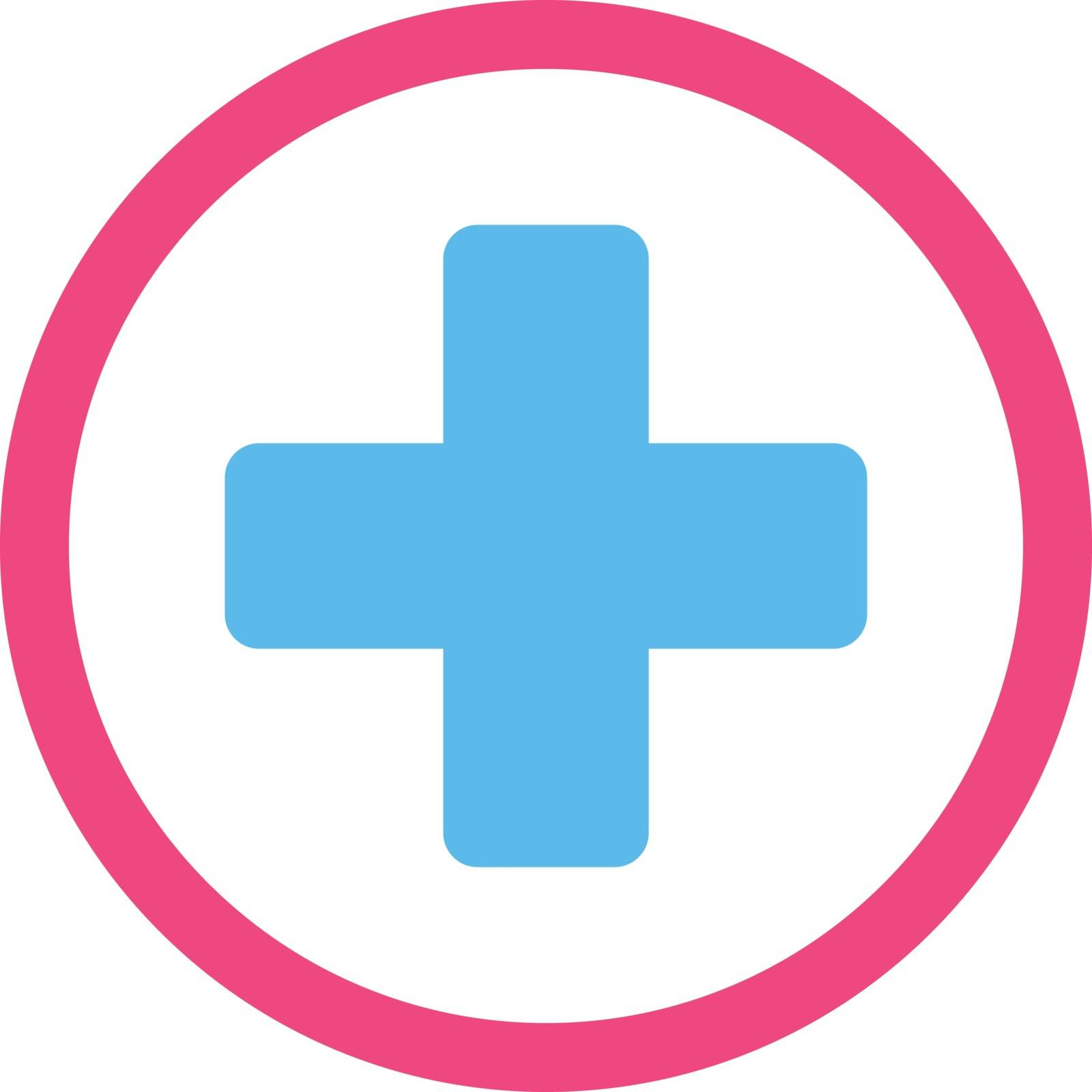 Rounded Plus vector icon. Style is bicolor flat symbol, pink and blue colors, rounded angles, white background.
