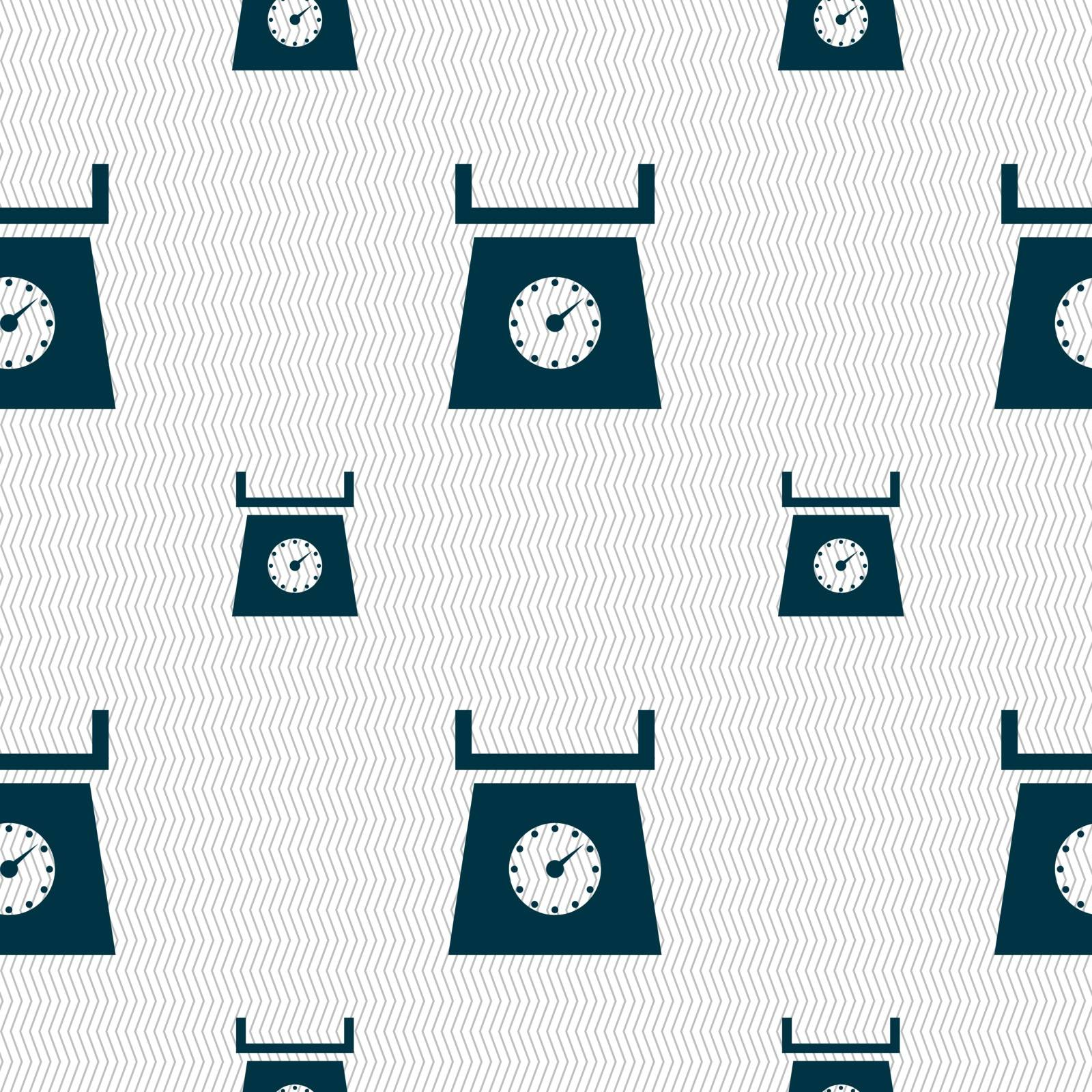 kitchen scales icon sign. Seamless pattern with geometric texture. Vector illustration