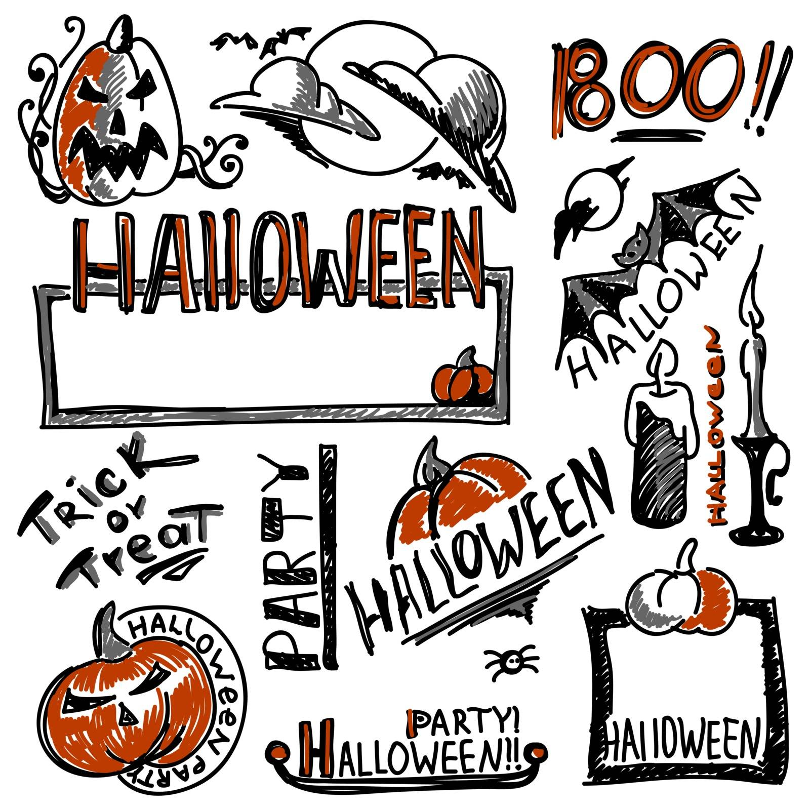 set of signs and symbols for postcards and posters for the holiday Halloween