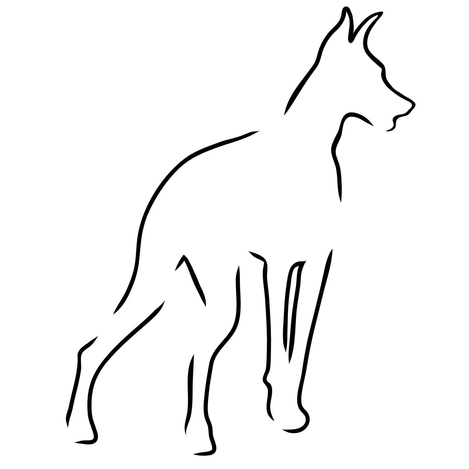A stylized outline of a Doberman Pinscher standing guard