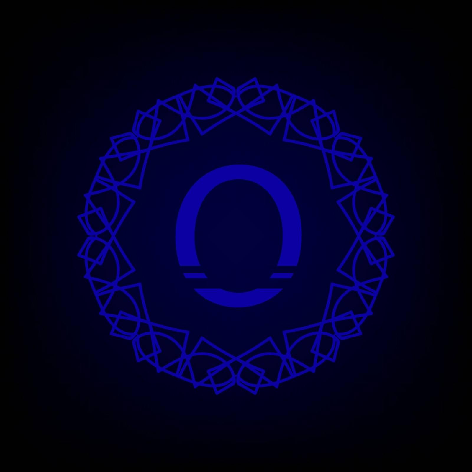 Simple  Monogram O Design Template on Dark Background