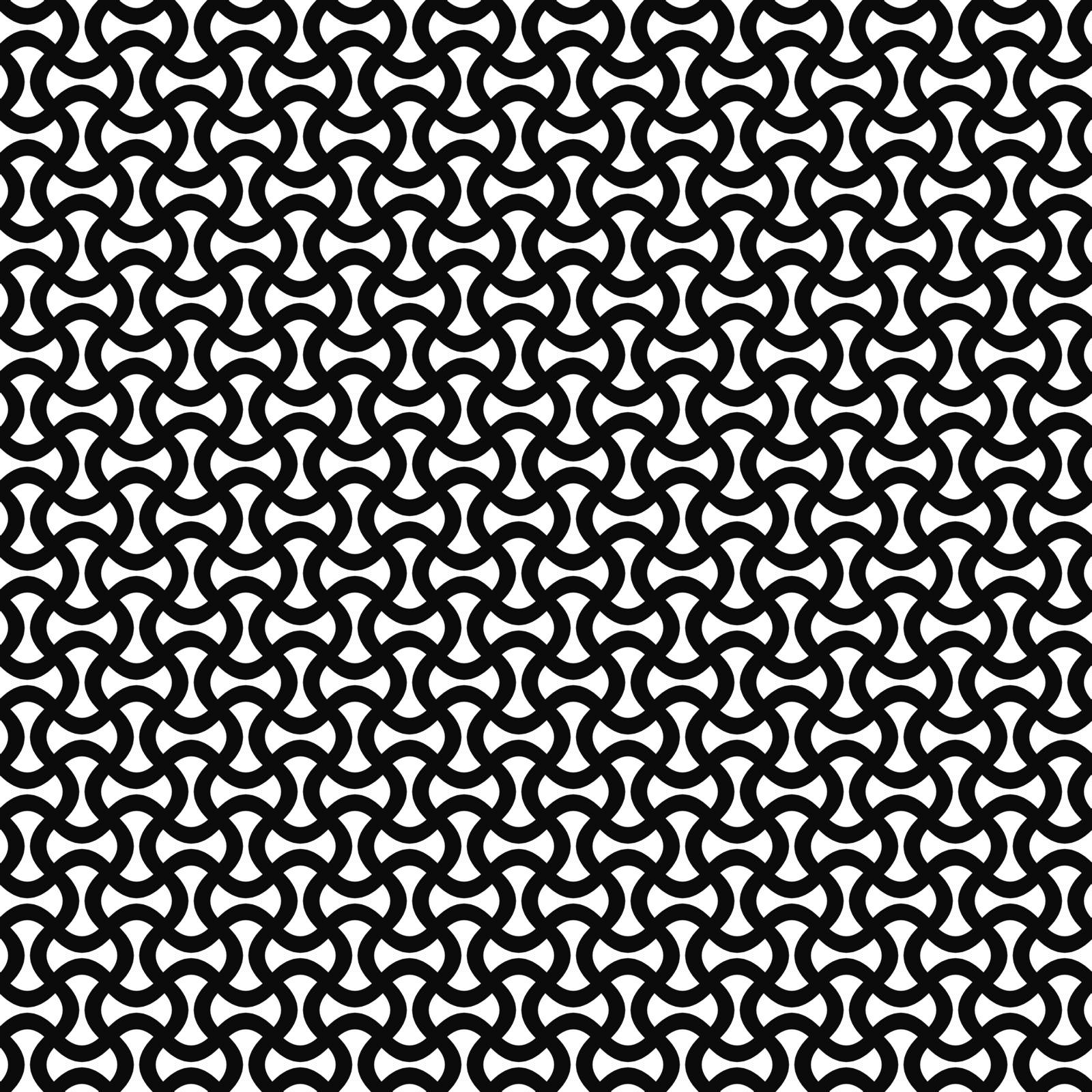 Monochrome abstract curly stripe repeat vector pattern