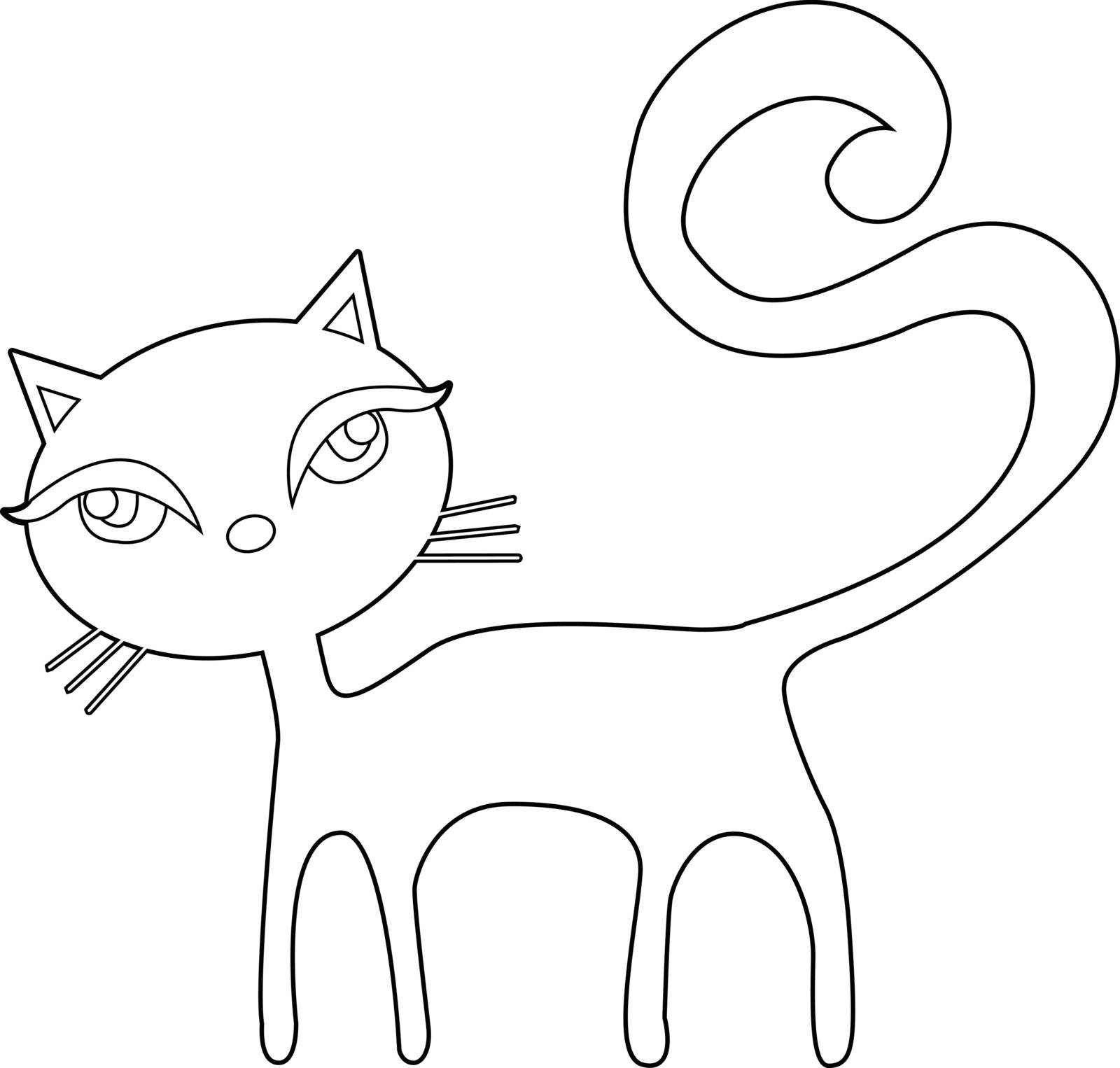 Cat on a white background vector illustration. Illustration of Cartoon Cat. Outline illustration for a coloring book. All in a single layer. - vector illustration