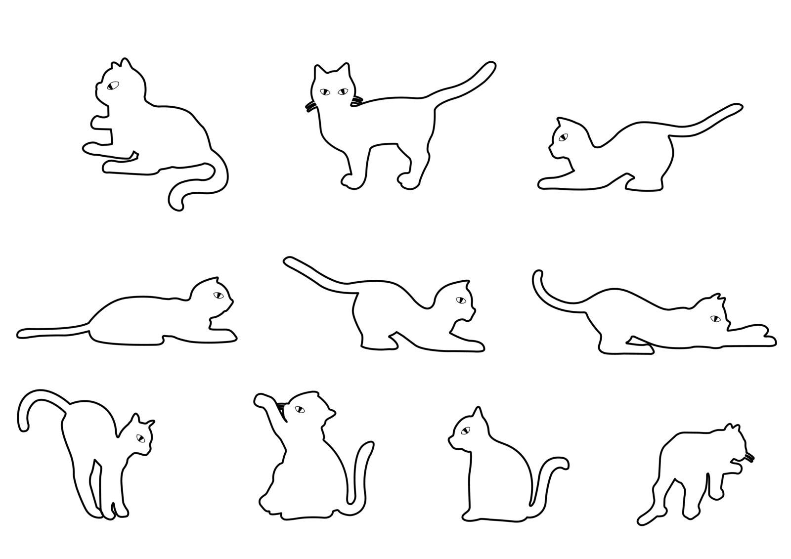 Cat on a white background vector illustration. Illustration of Cartoon Cat. Outline illustration for a coloring book. All in a single layer. vector illustration