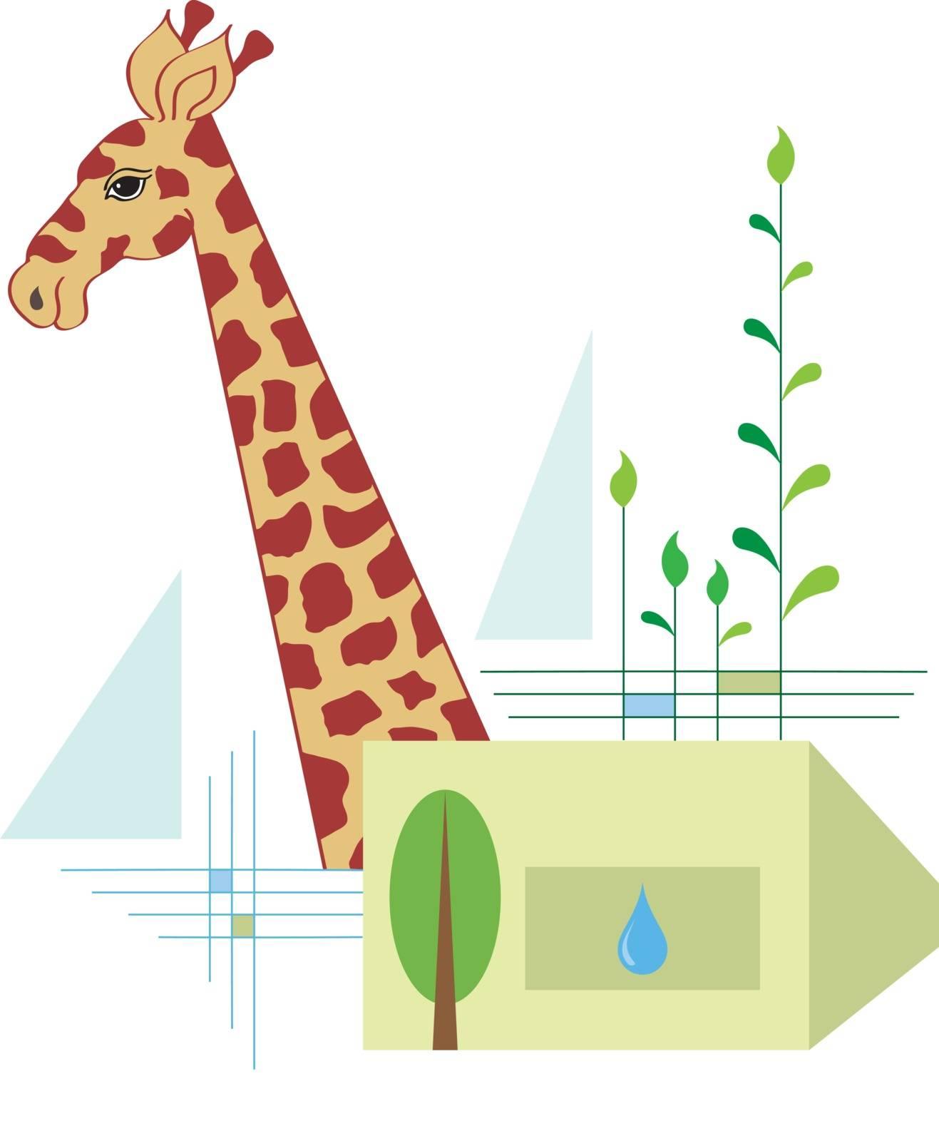 Giraffe, Protect Their Natural Habitat Vector Art