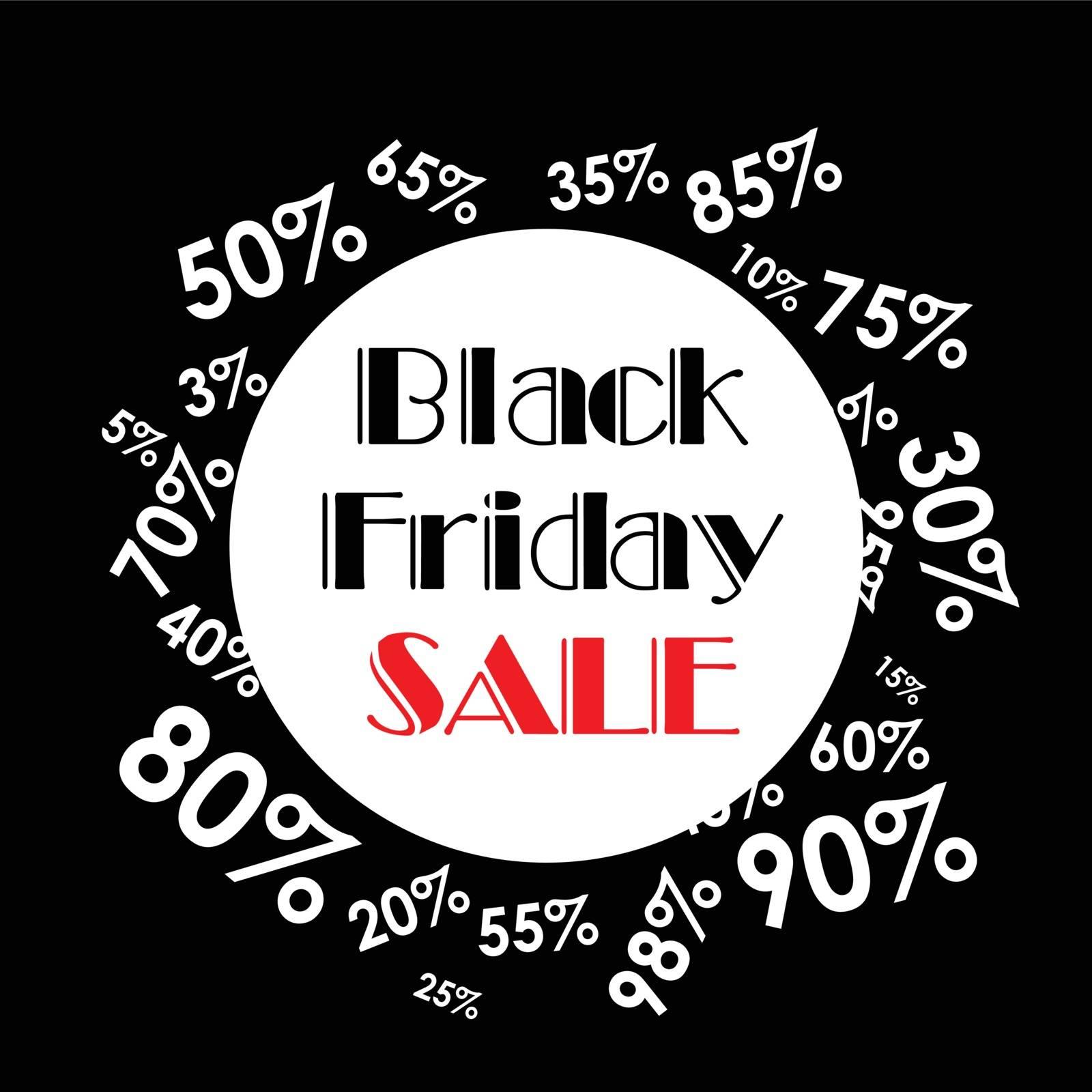 Vector illustration. Black Friday sales. Black poster.