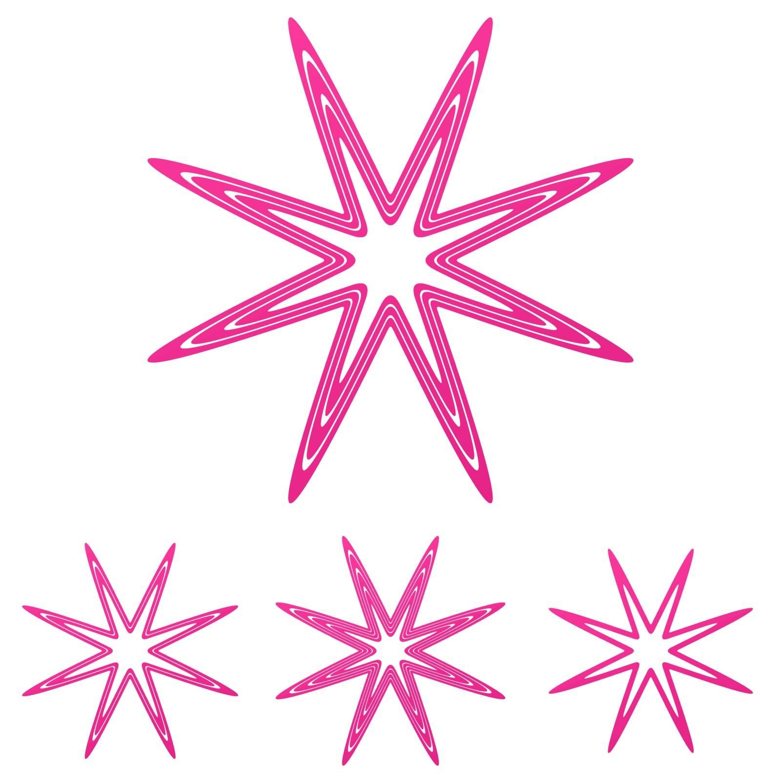 Pink line star thorn logo design set