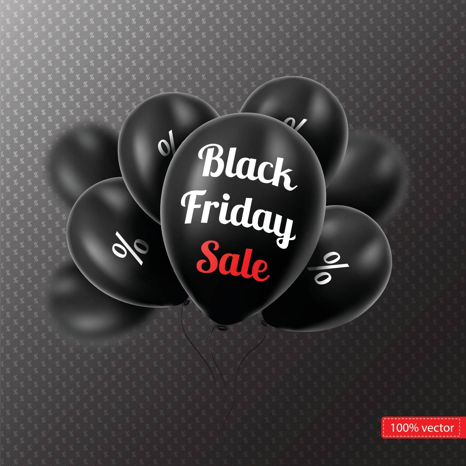 Vector.  Black Friday. Black balloons on a black background. Black balloons with discounts. Sales.