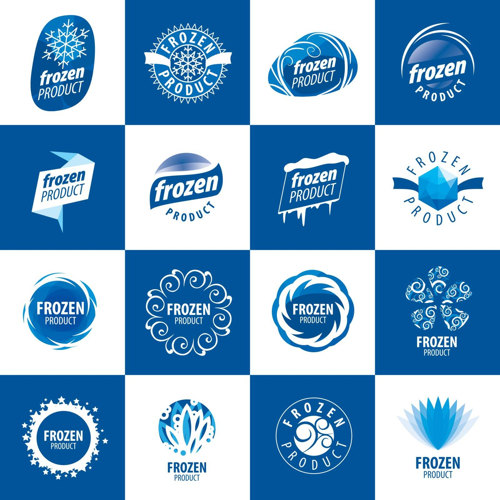 large set of vector logos for frozen products