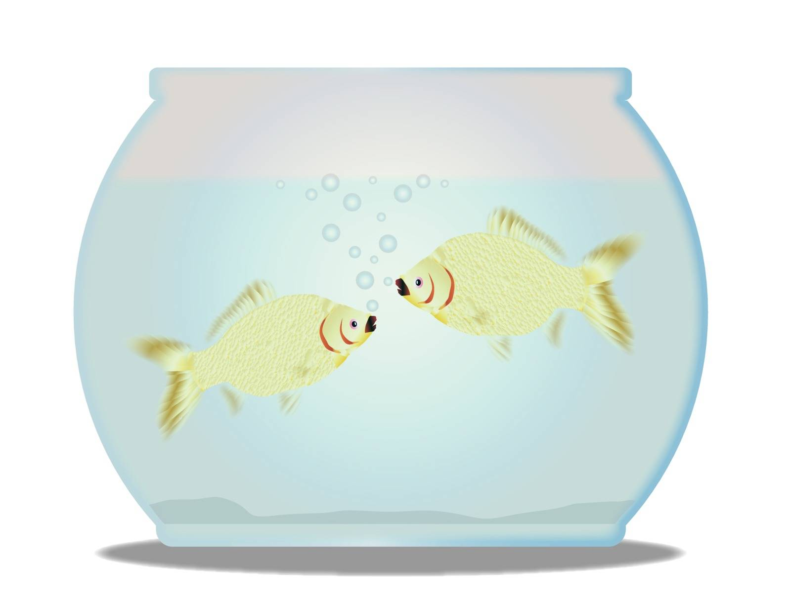 A trpical pet goldfish bowl with fish over a white background