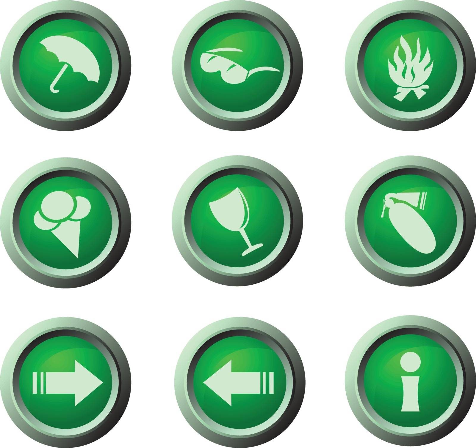 Green rounded icons for web in eps