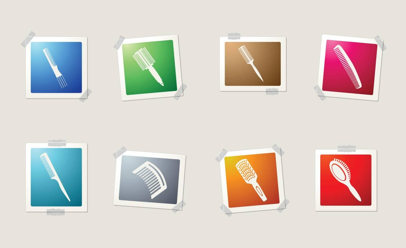 Hairbrushes icon set by ayax