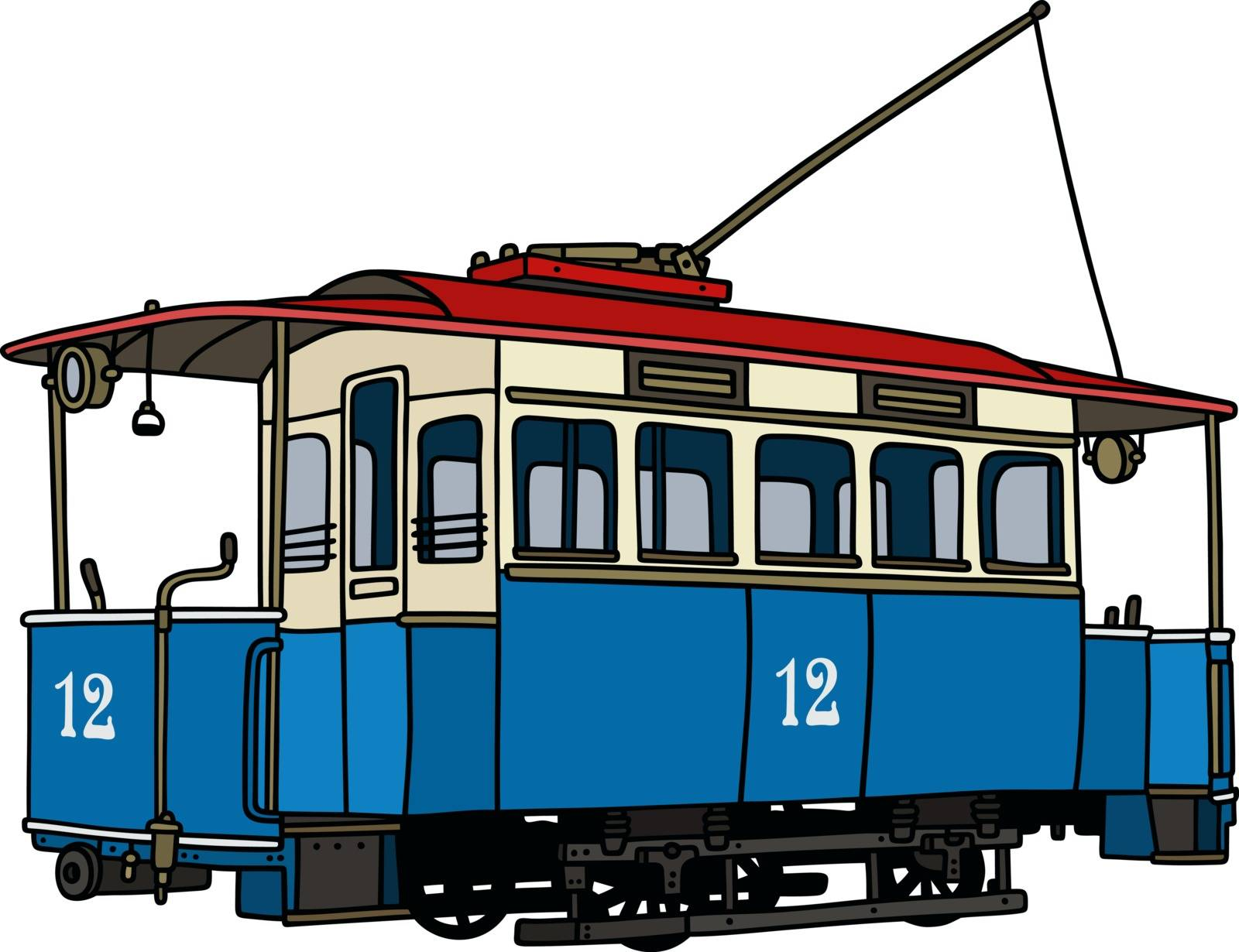 Hand drawing of a vintage blue tramway