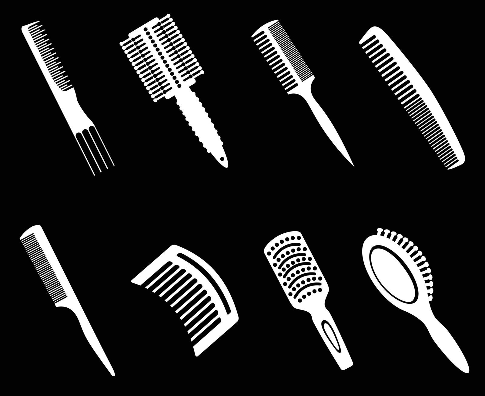 Hairbrushes Silhouette Icons by ayax