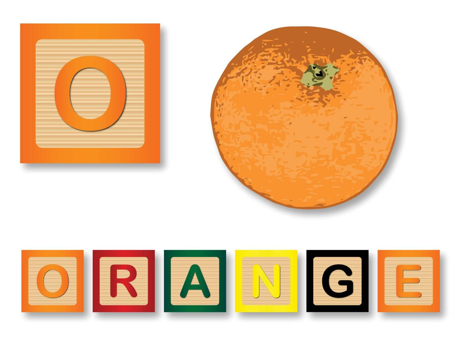 O Is For Orange text with sliced apple