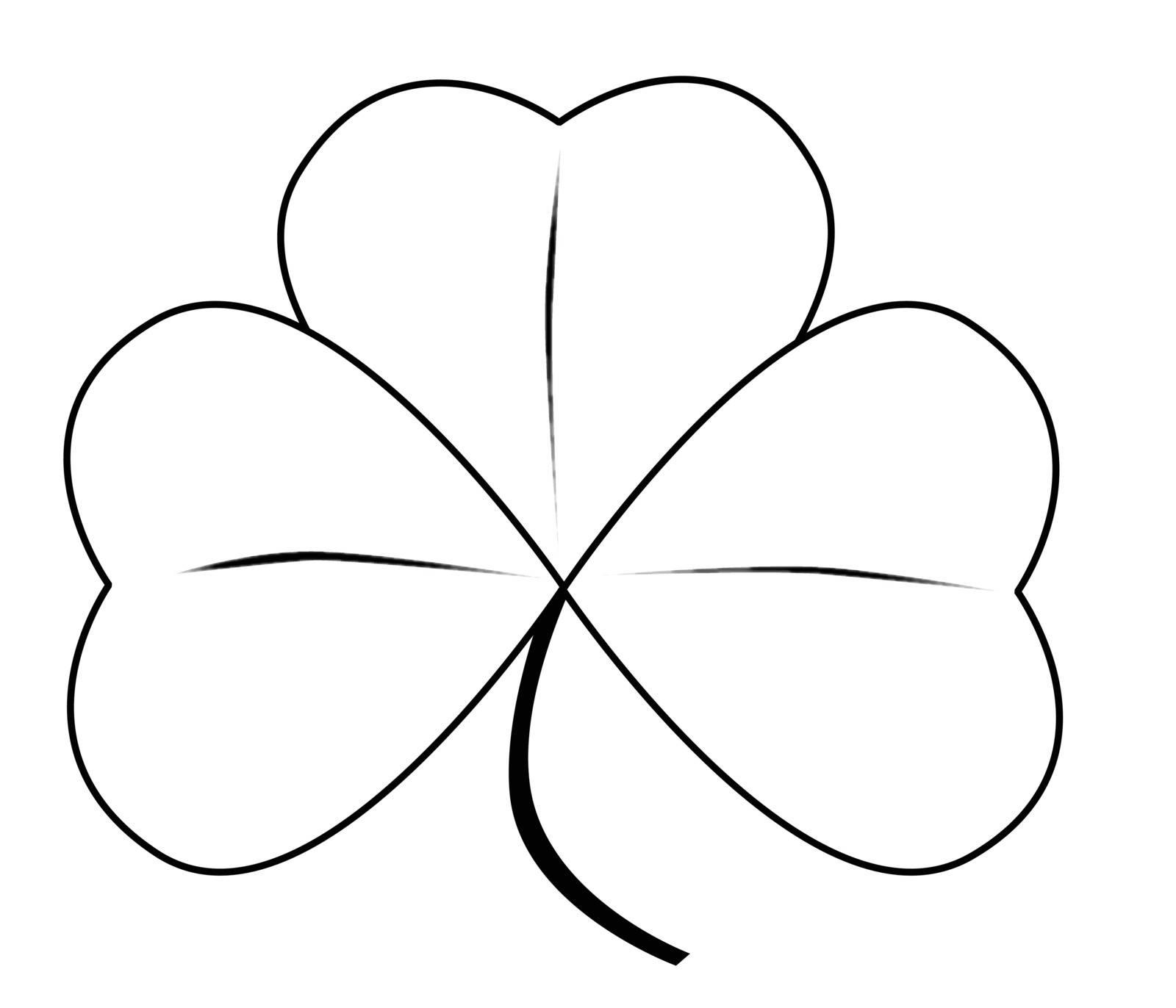 A very lucky Irish shamrock over white.
