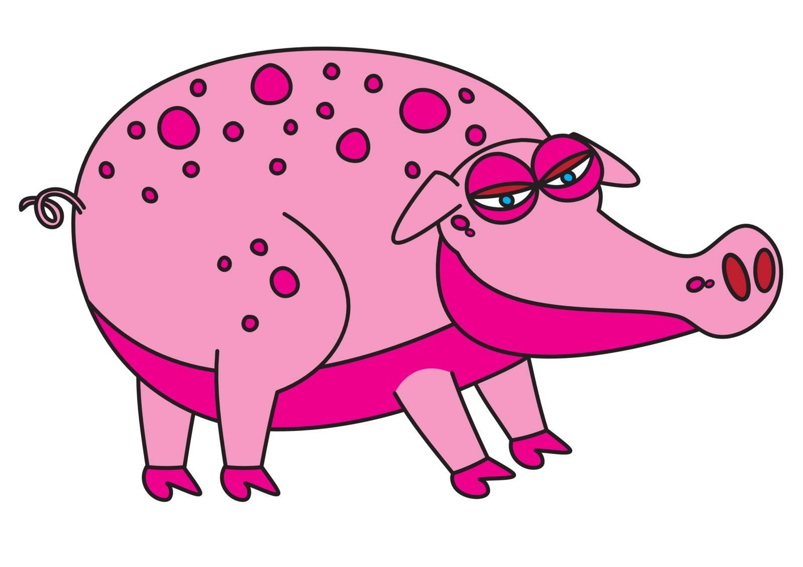 pink pig bacon vector illustration