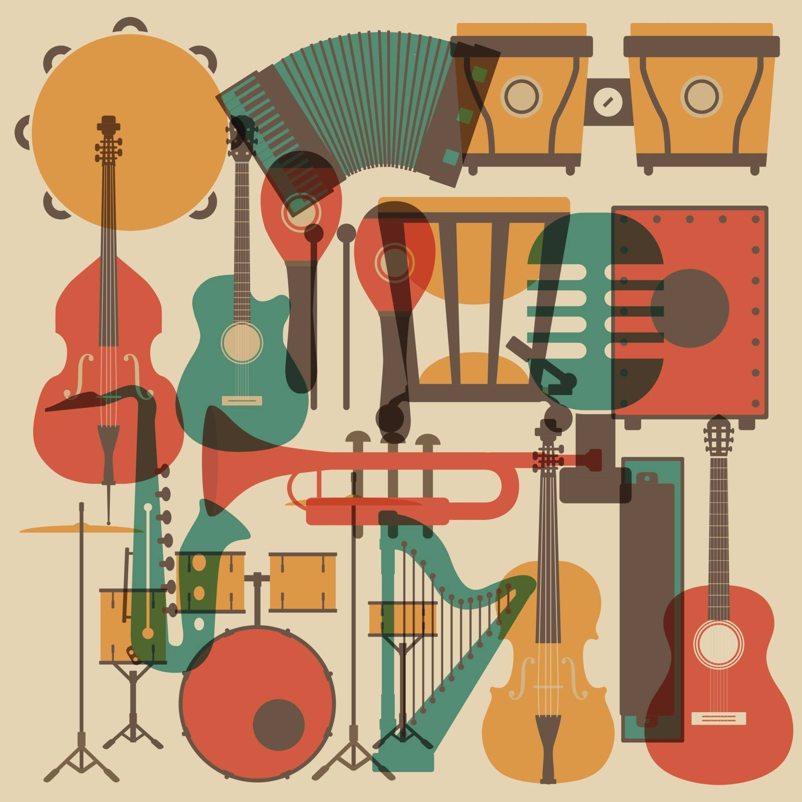 set of abstract classical music instrument icon, retro style