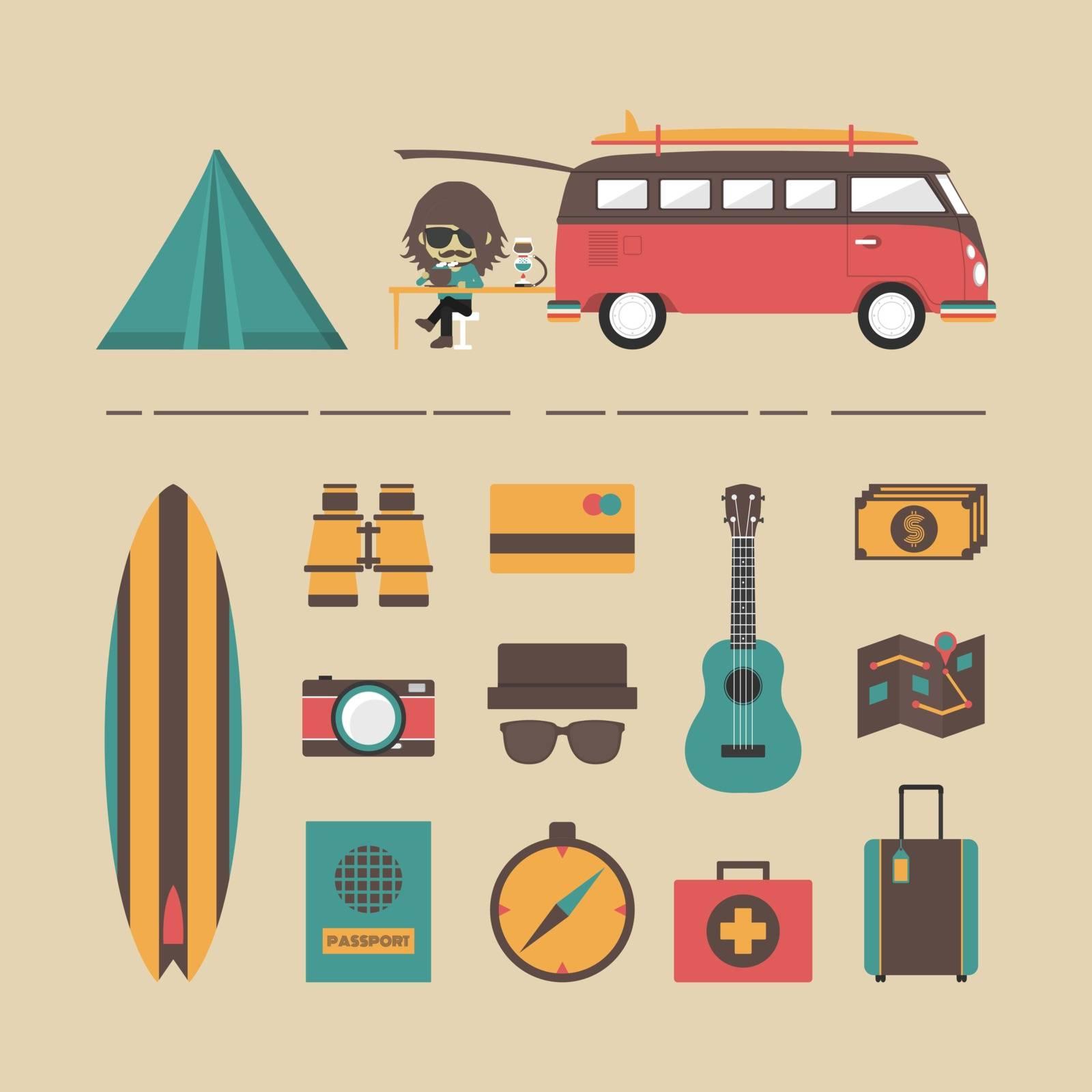 classic van with equipment icon set, retro style