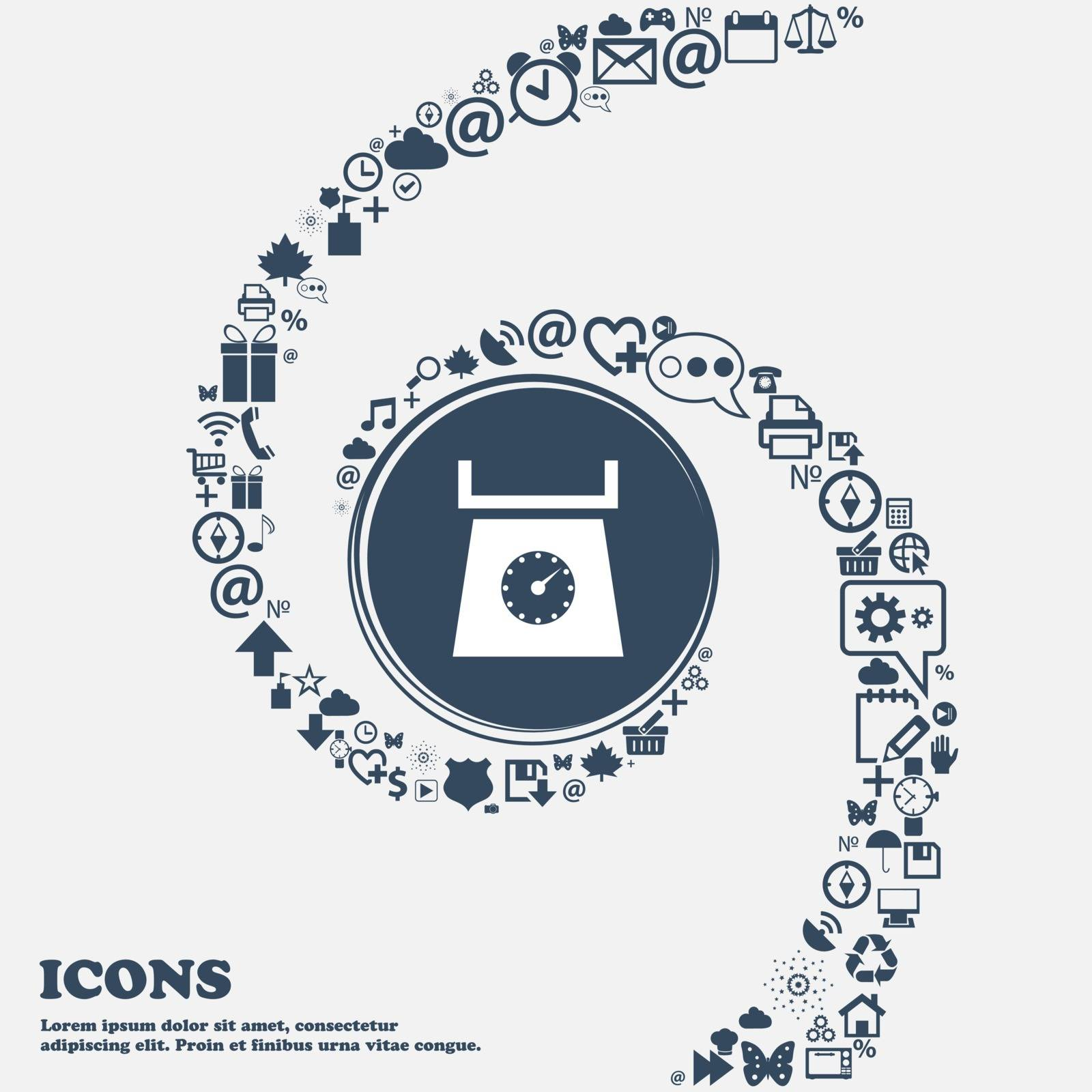 kitchen scales icon sign in the center. Around the many beautiful symbols twisted in a spiral. You can use each separately for your design. Vector illustration