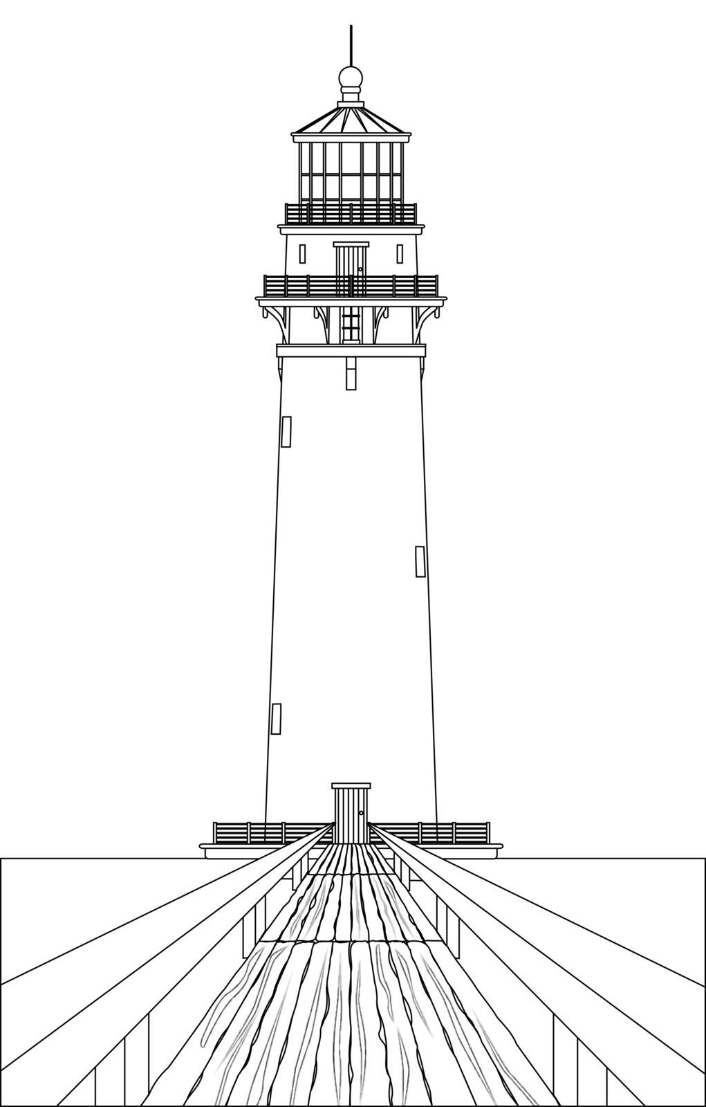 A lighthouse outline in clack and white and its well worn wooden footbridge.