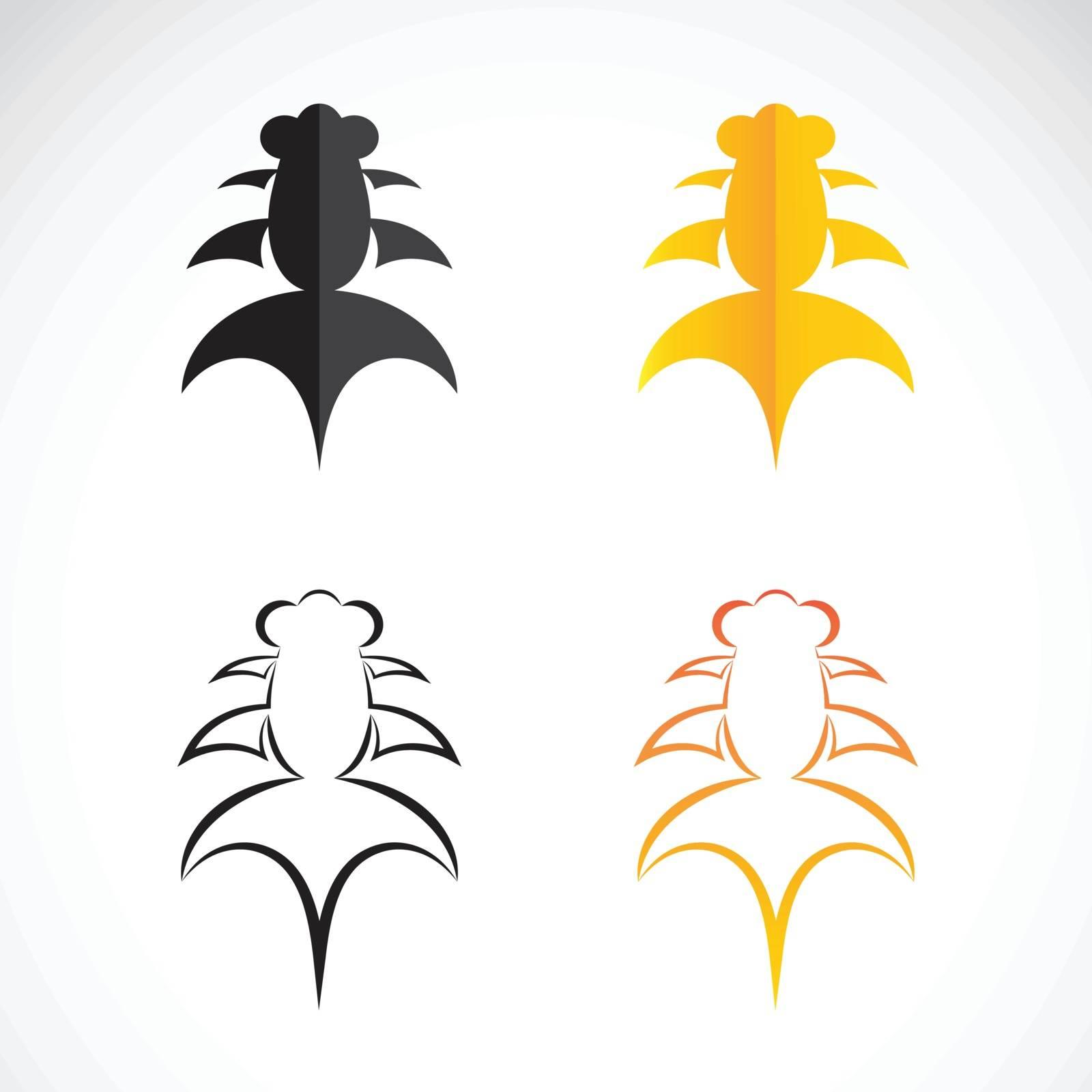 Vector image of an goldfish and black goldfish on white background.