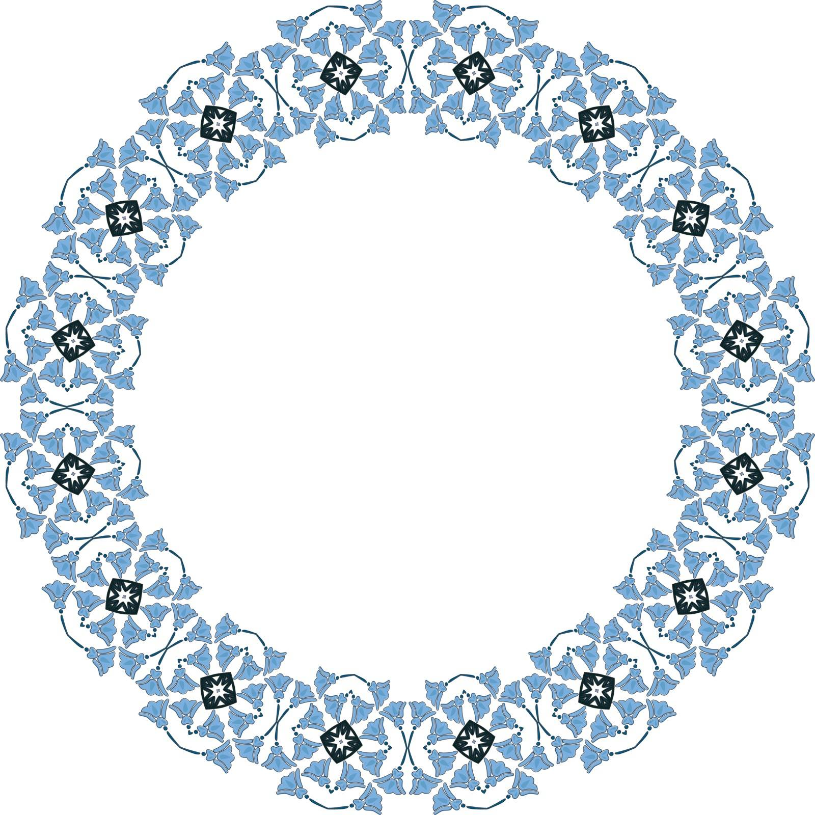 Decorative illustrated circle frame made of floral elements
