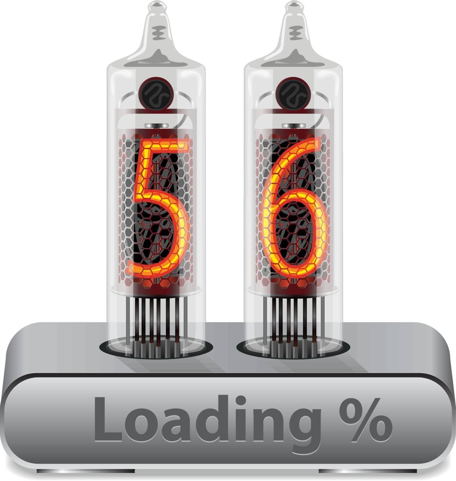 Loading Progress Indicator Interface on Vintage Vacuum Tube Display Concept