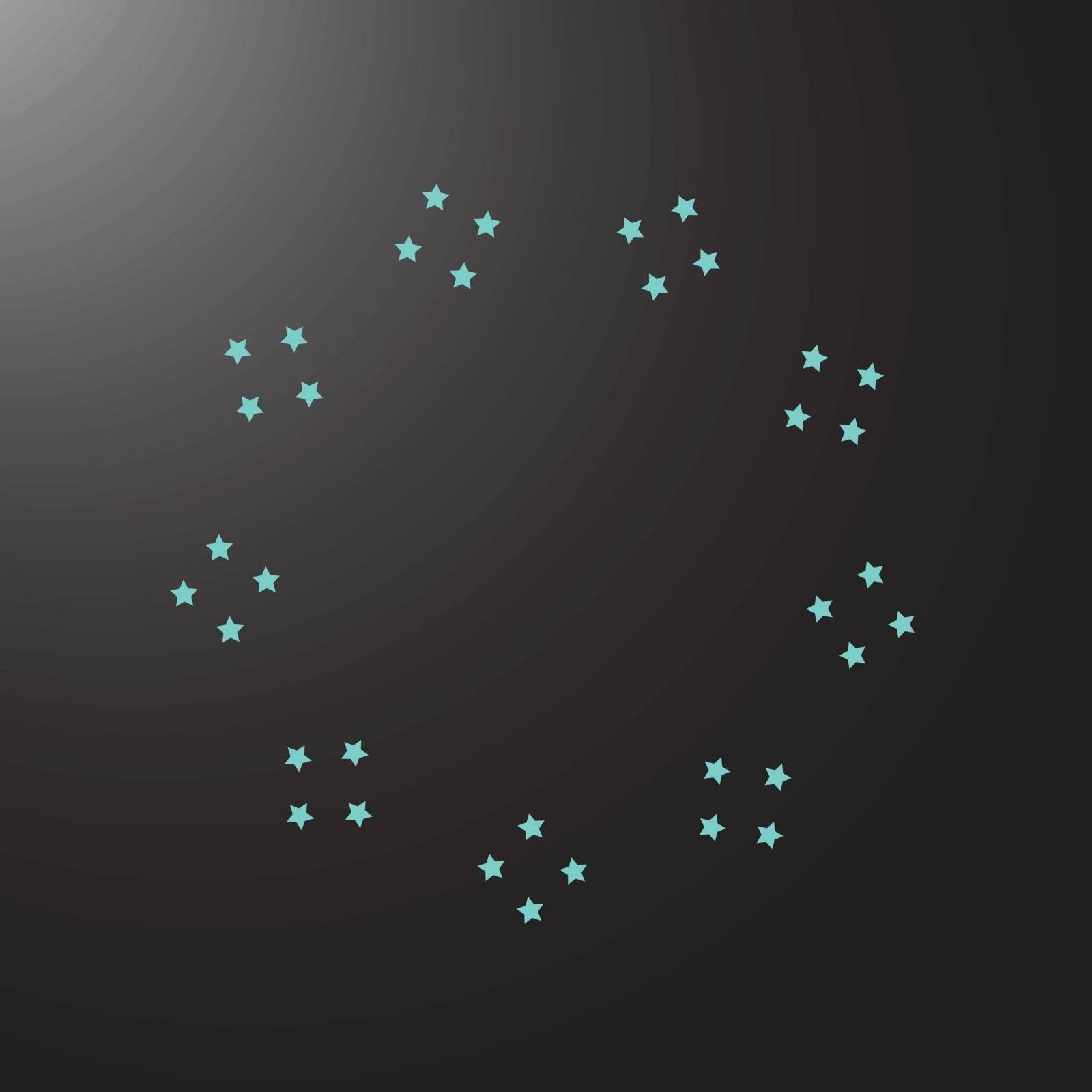 illustration which depicts blue stars on a black background