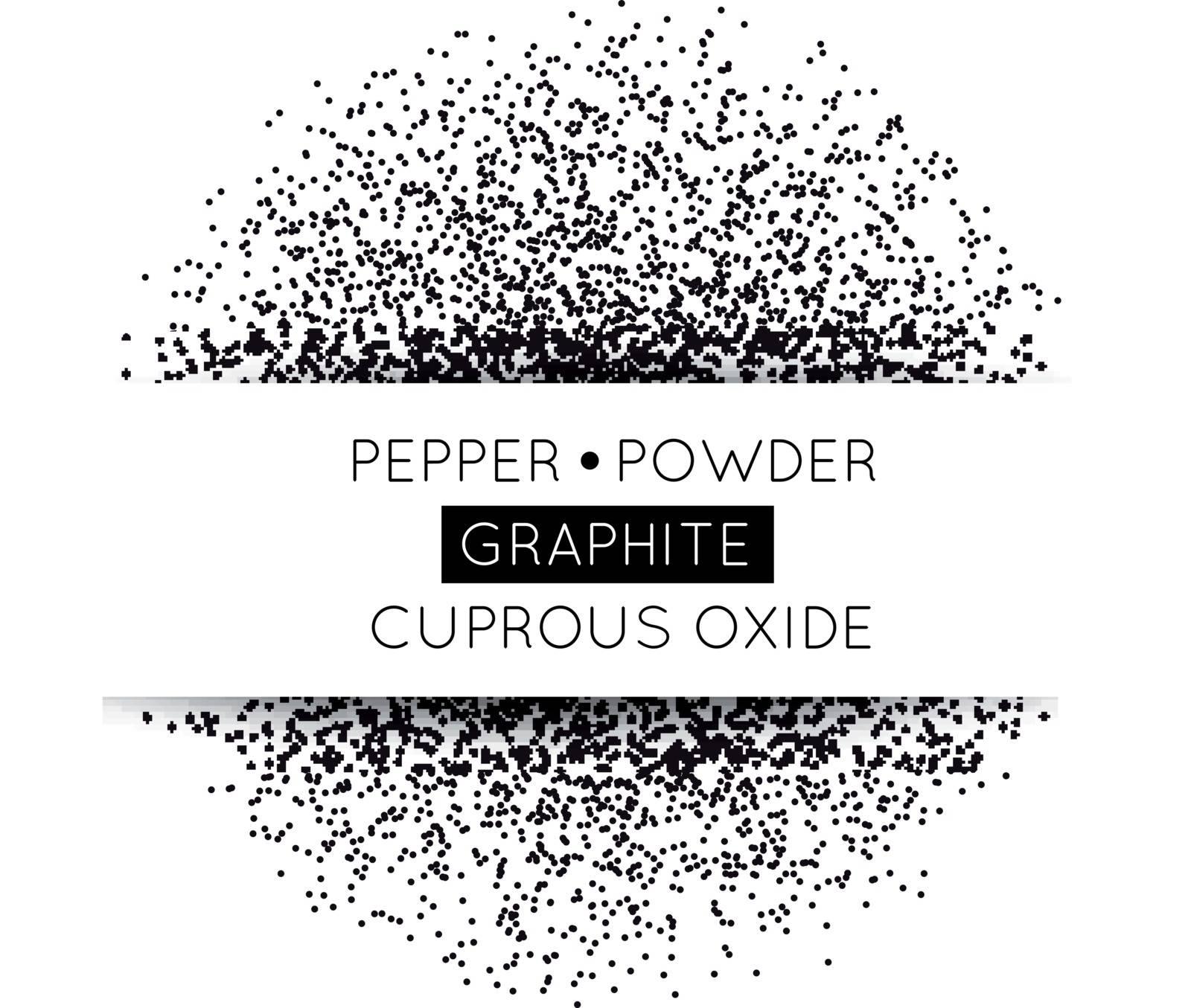 Black circle made of black dots. Vector illustration. Pepper, graphite, gunpowder on white
