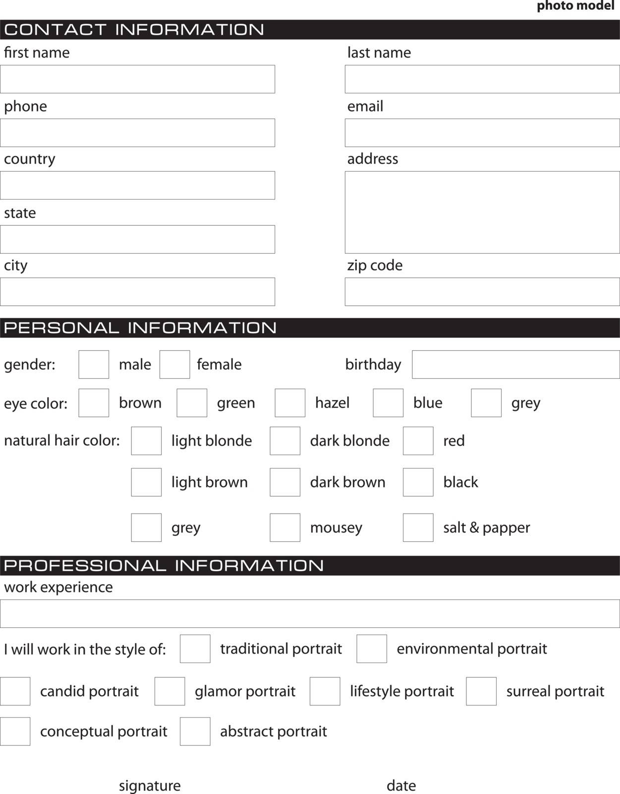 Application for employment work a photo model.