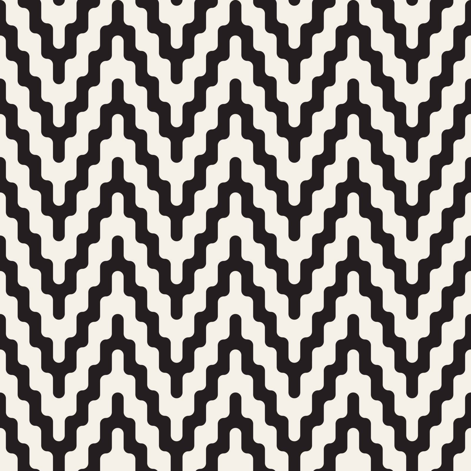 Vector Seamless Black and White ZigZag Jagged Lines Geometric Pattern. Abstract Geometric Background Design