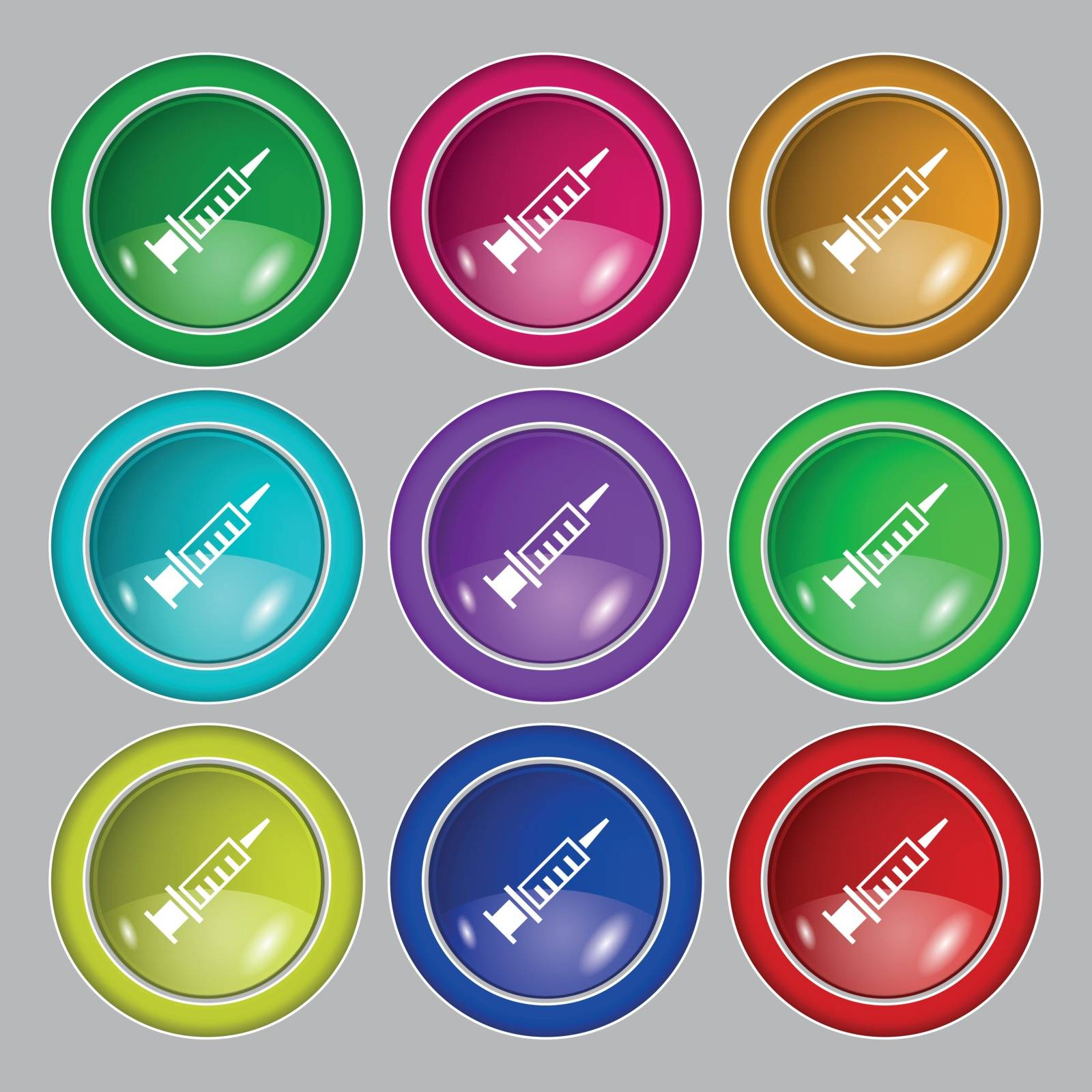 Syringe icon icon sign. symbol on nine round colourful buttons. Vector illustration