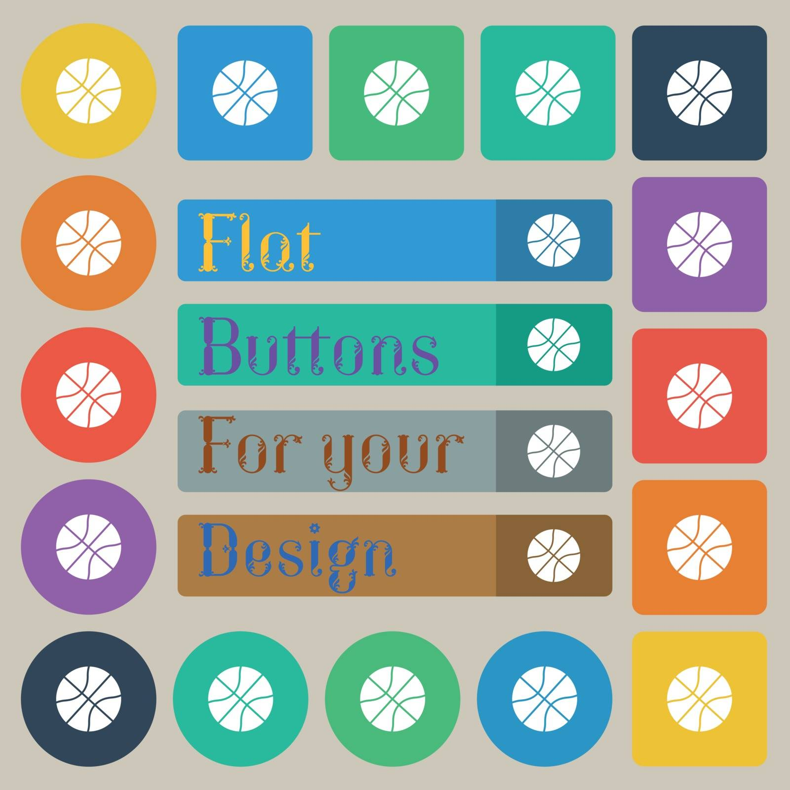 Basketball icon sign. Set of twenty colored flat, round, square and rectangular buttons. Vector illustration