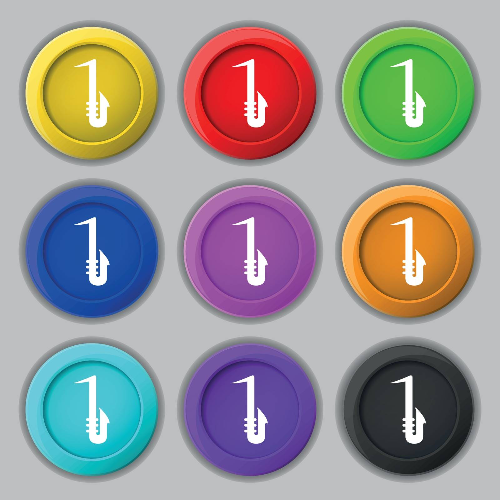 Saxophone icon sign. symbol on nine round colourful buttons. Vector illustration
