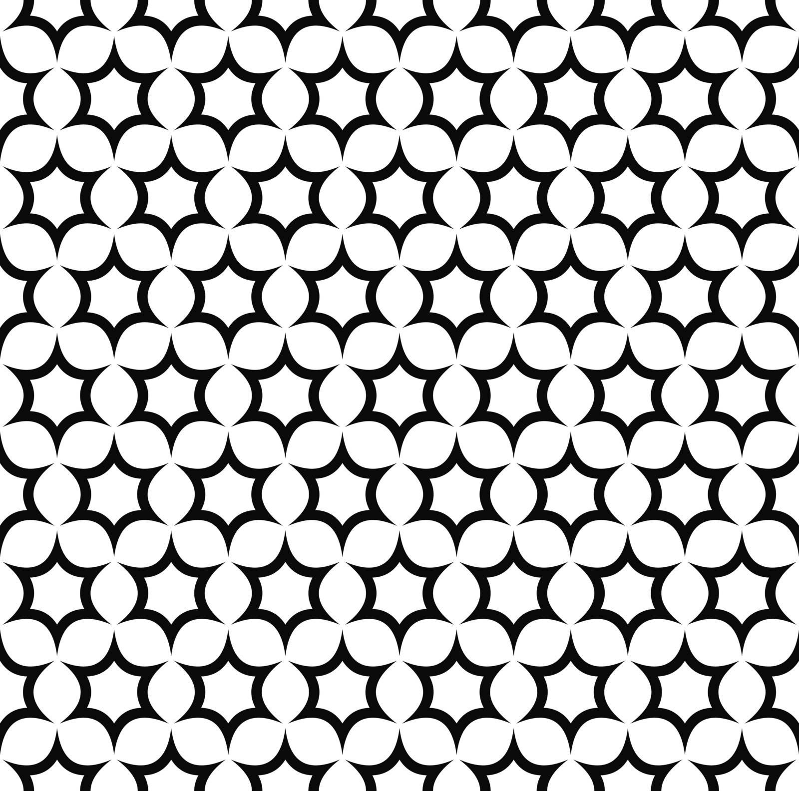 Seamless black and white hexagonal vector star pattern design