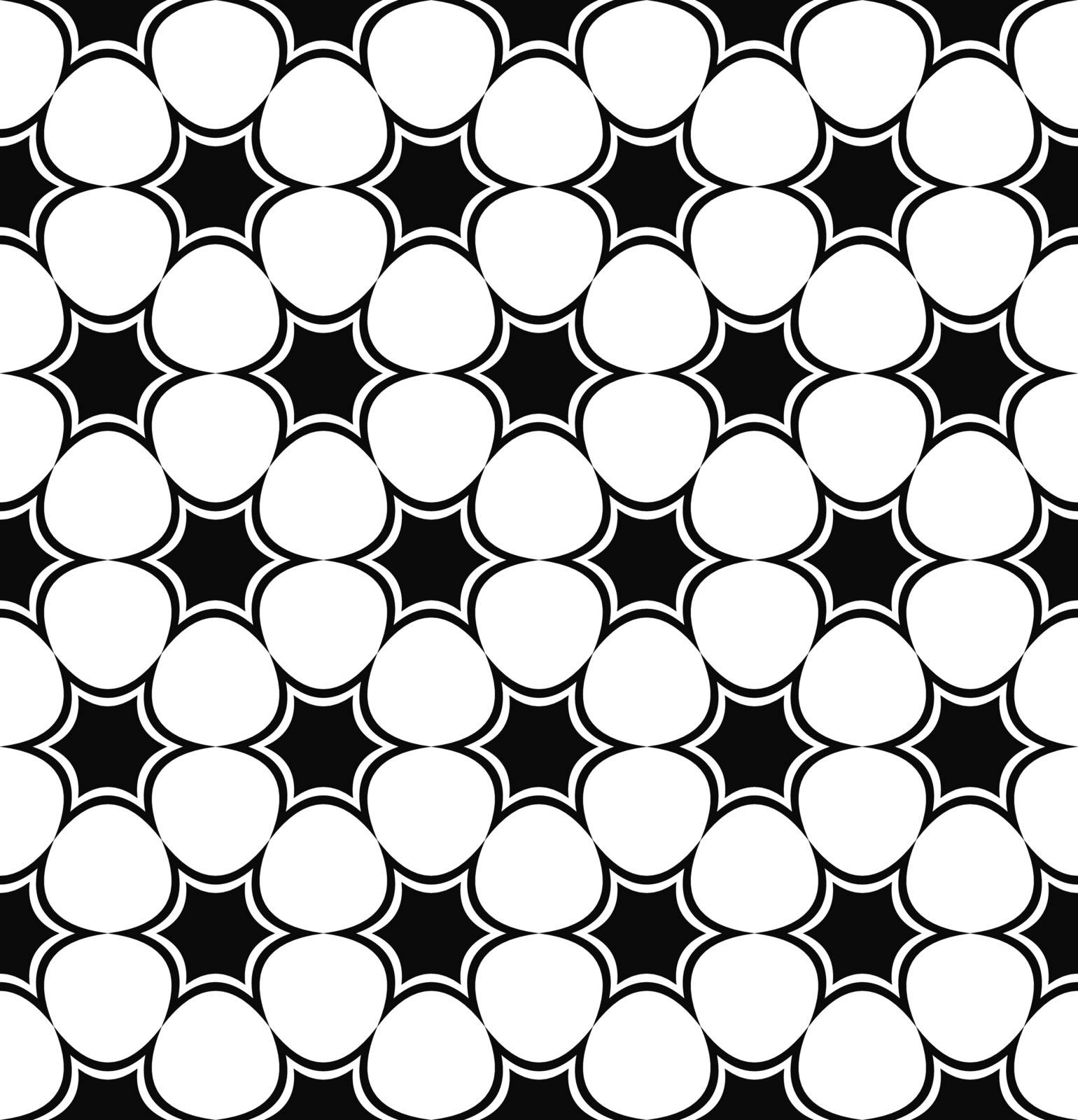 Repeating black and white hexagonal abstract star pattern design background